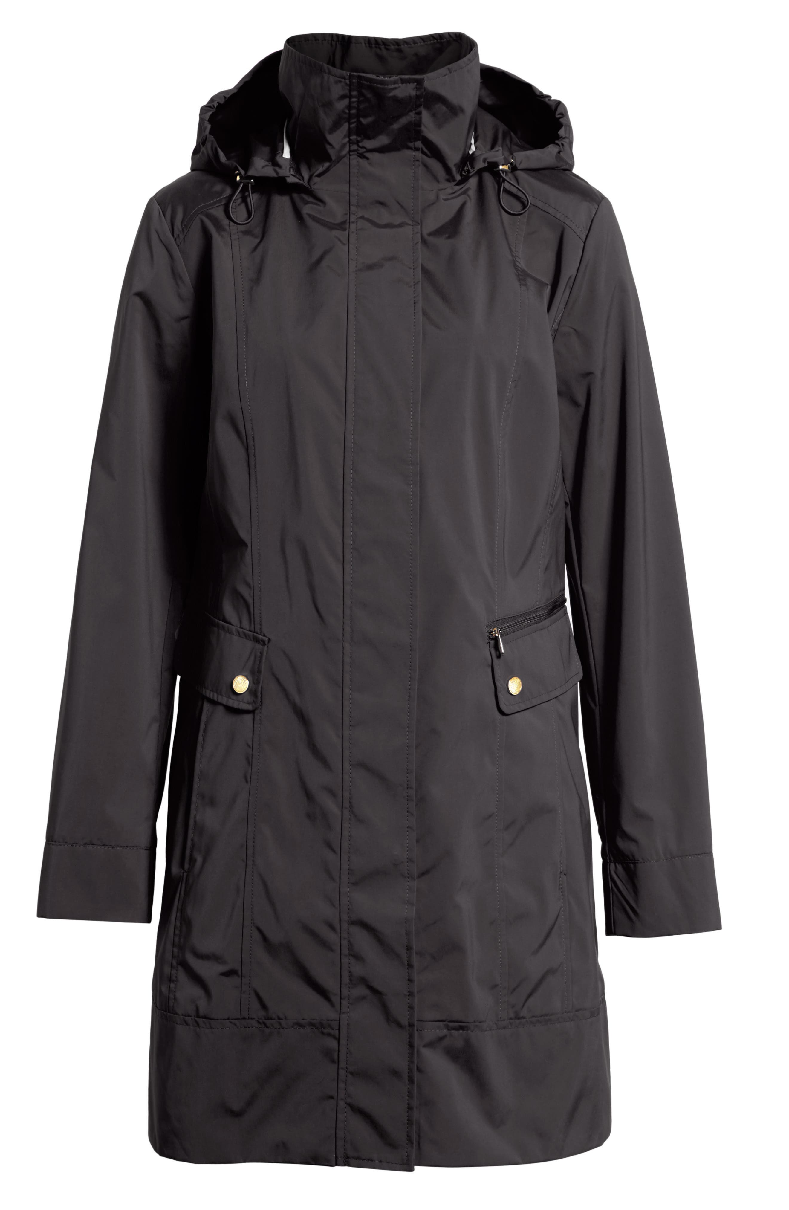 COLE HAAN SIGNATURE, Back Bow Packable Hooded Raincoat, Alternate thumbnail 2, color, BLACK