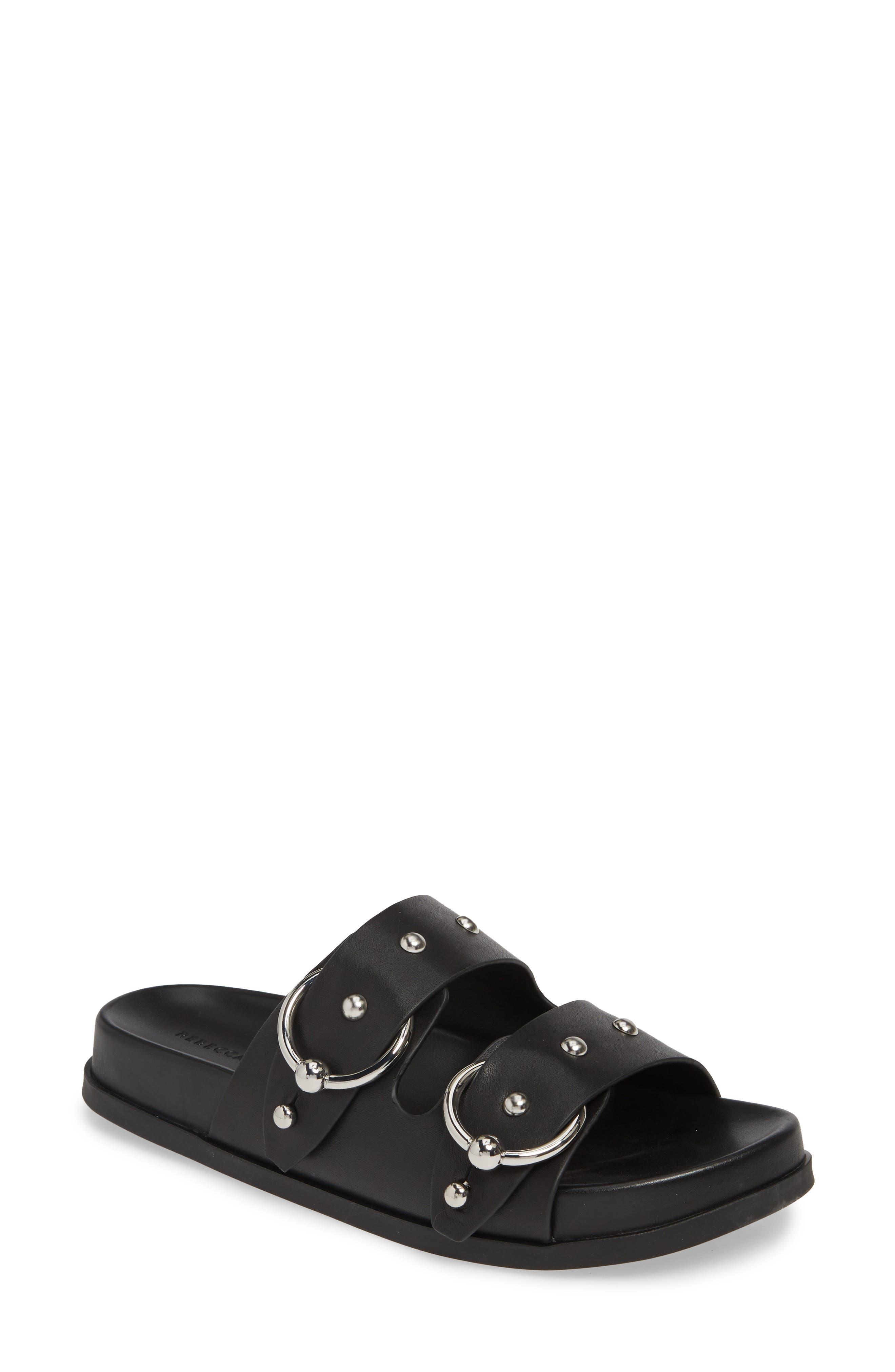 REBECCA MINKOFF, Vachel Slide Sandal, Main thumbnail 1, color, BLACK LEATHER