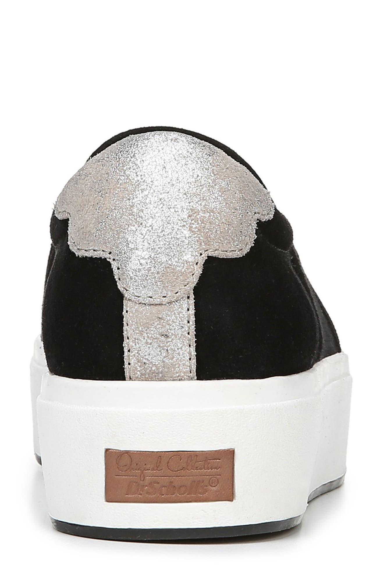 DR. SCHOLL'S, Abbot Lux Sneaker, Alternate thumbnail 7, color, BLACK SUEDE