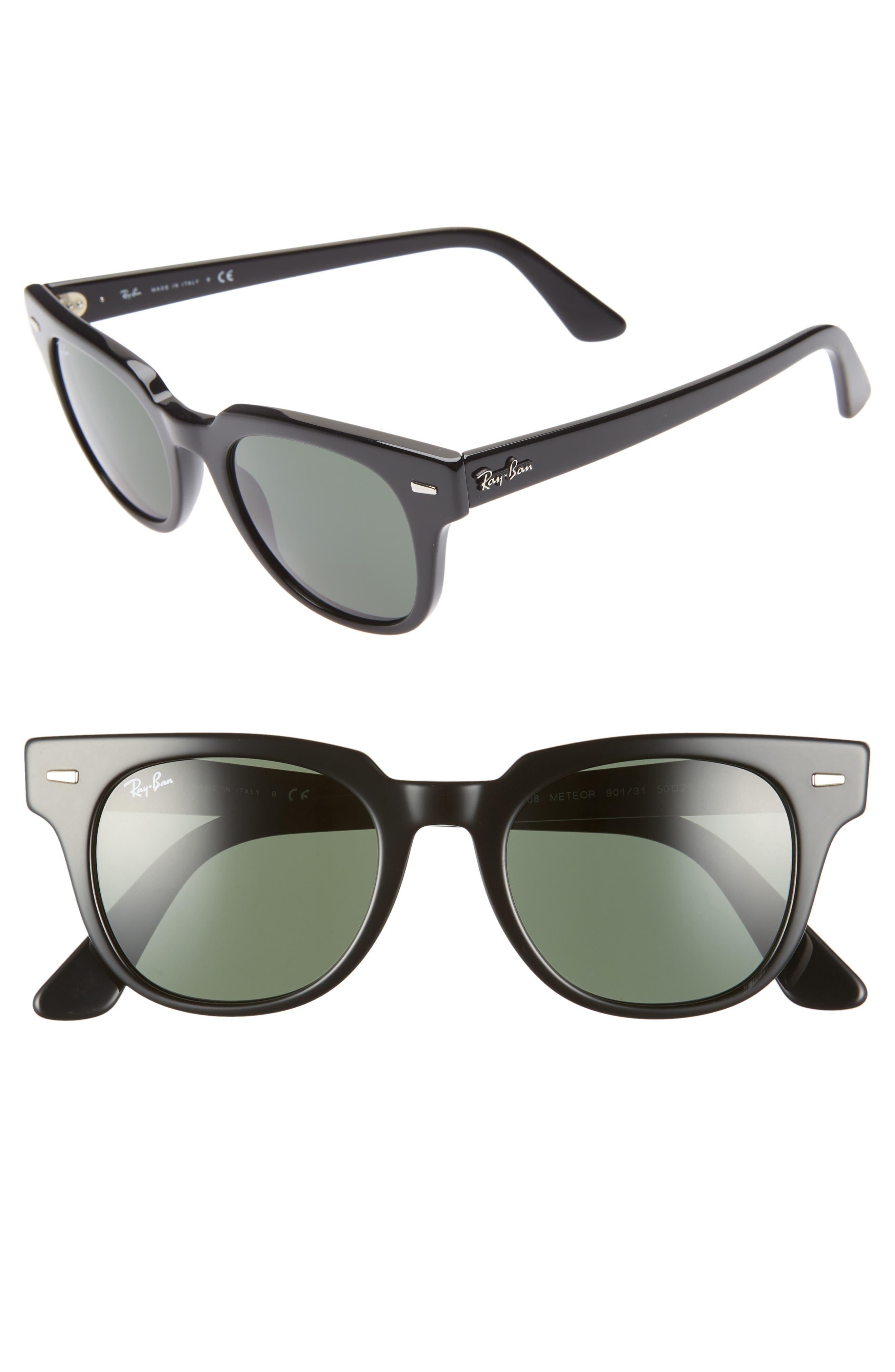 RAY-BAN, Meteor 50mm Wayfarer Sunglasses, Main thumbnail 1, color, BLACK SOLID