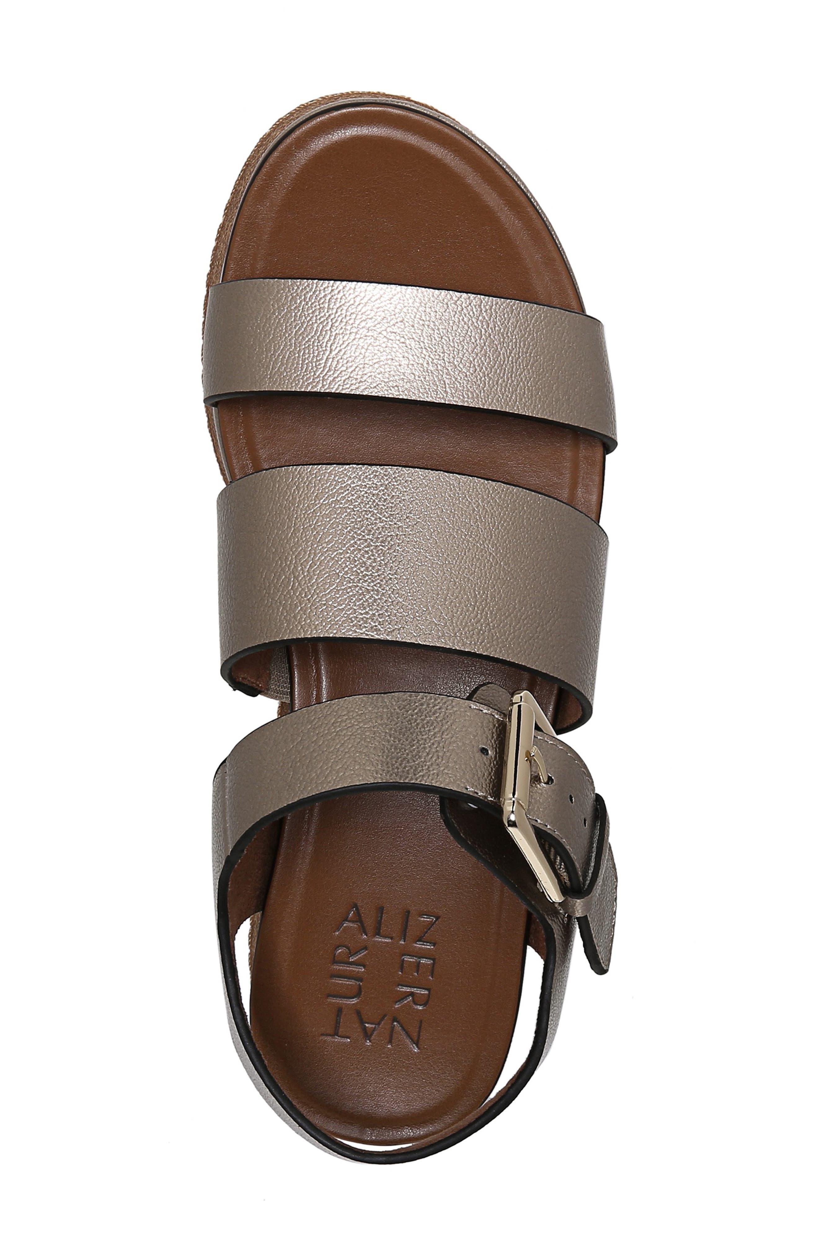 NATURALIZER, Billie Platform Sandal, Alternate thumbnail 5, color, LIGHT BRONZE METAL