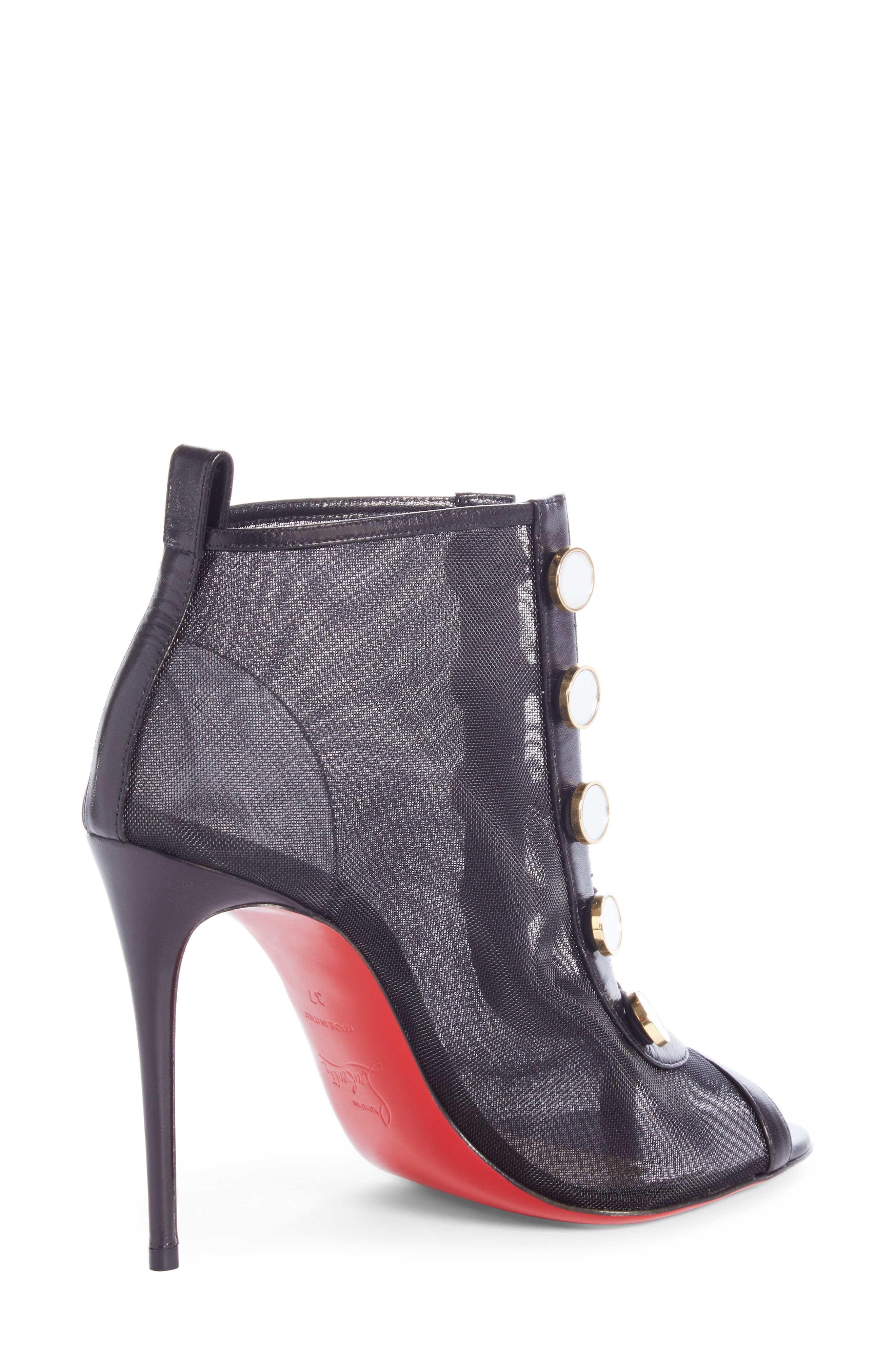 CHRISTIAN LOUBOUTIN, Marika Open Toe Bootie, Alternate thumbnail 2, color, BLACK
