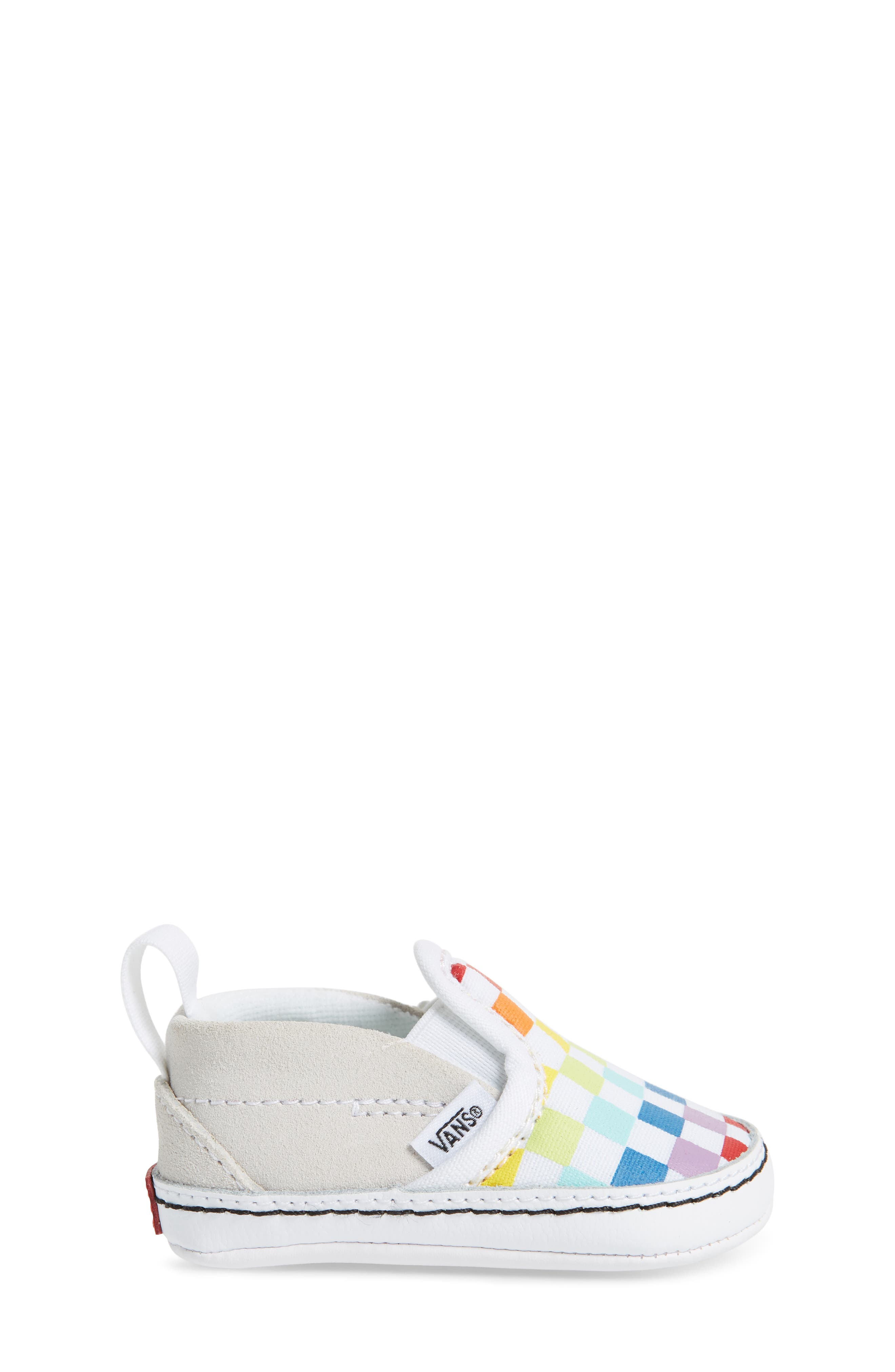 VANS, Slip-On Crib Shoe, Alternate thumbnail 3, color, CHECKERBOARD RAINBOW/ WHITE