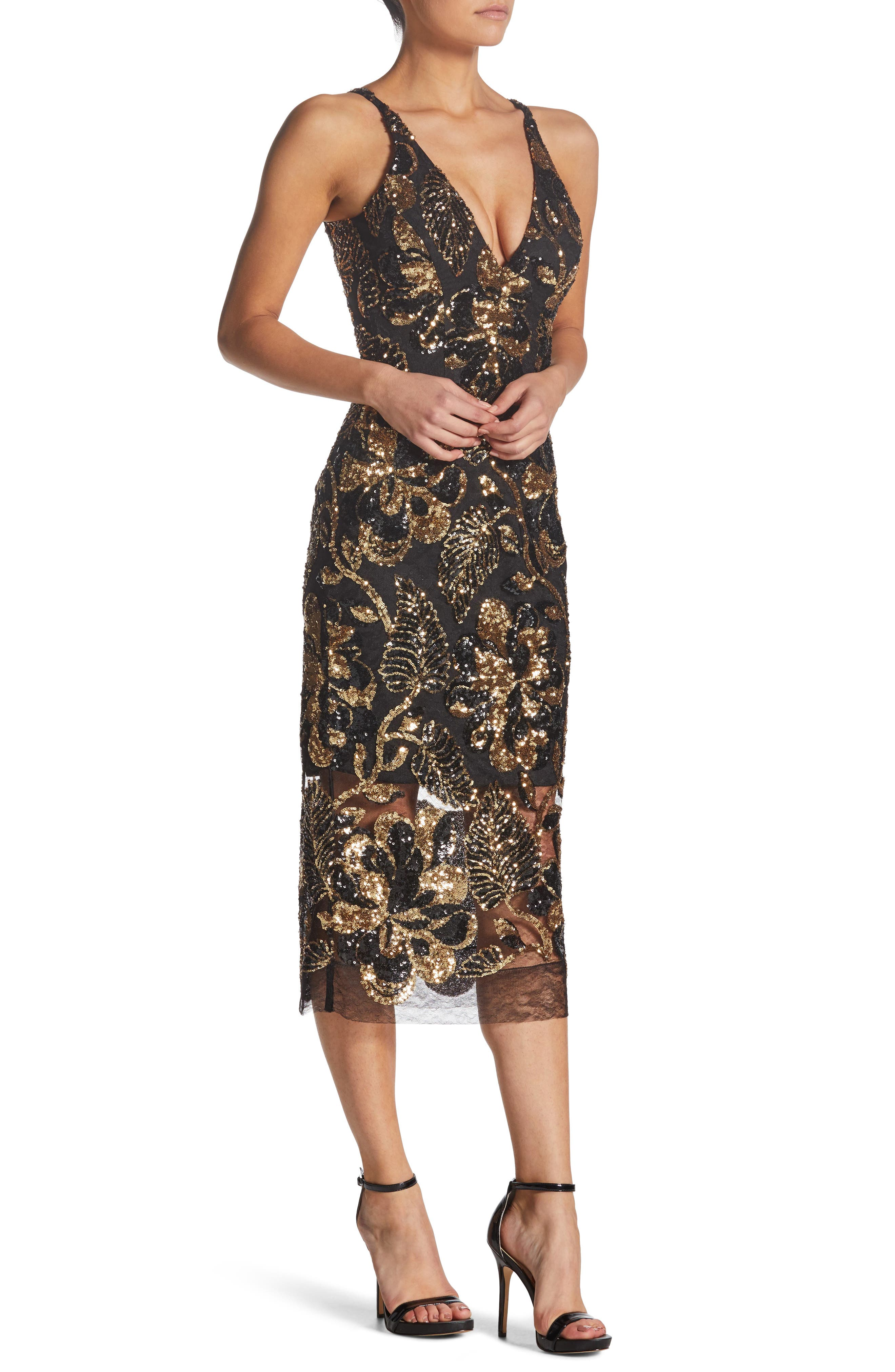 DRESS THE POPULATION, Margo Plunge Neck Sequin Dress, Alternate thumbnail 3, color, 715