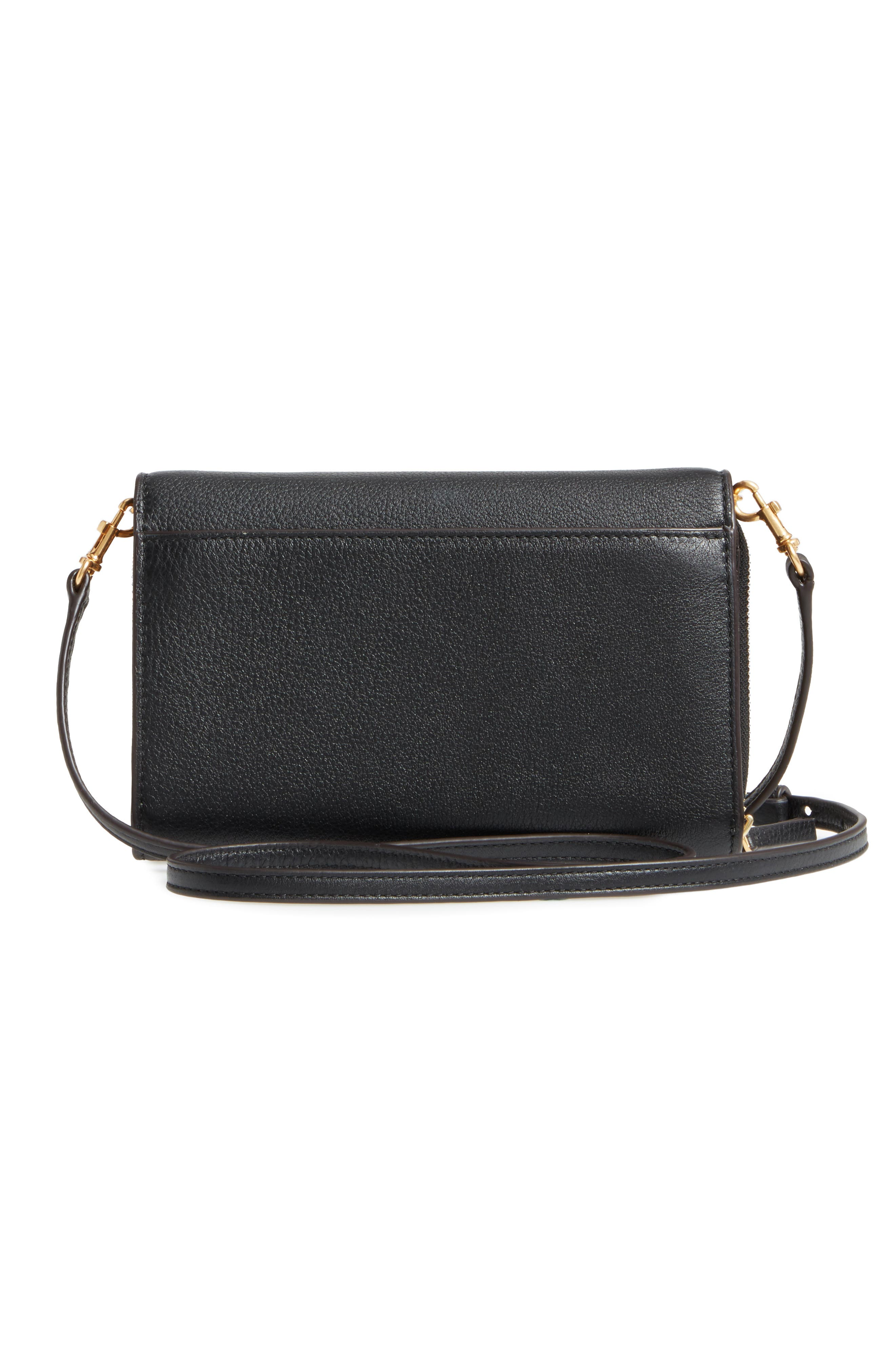TORY BURCH, McGraw Leather Crossbody Wallet, Alternate thumbnail 3, color, BLACK