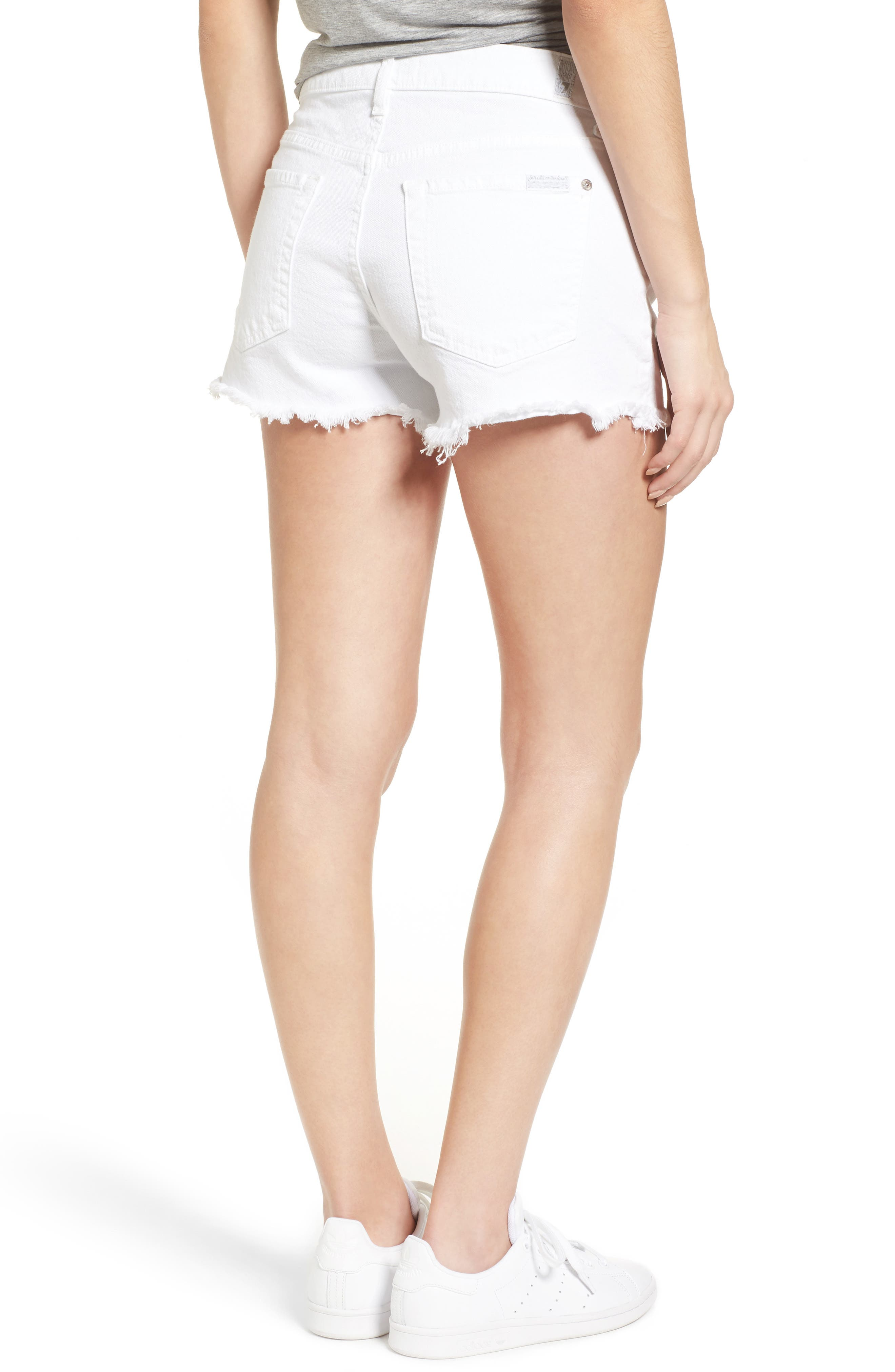 7 FOR ALL MANKIND<SUP>®</SUP>, Cutoff Denim Shorts, Alternate thumbnail 2, color, CLEAN WHITE