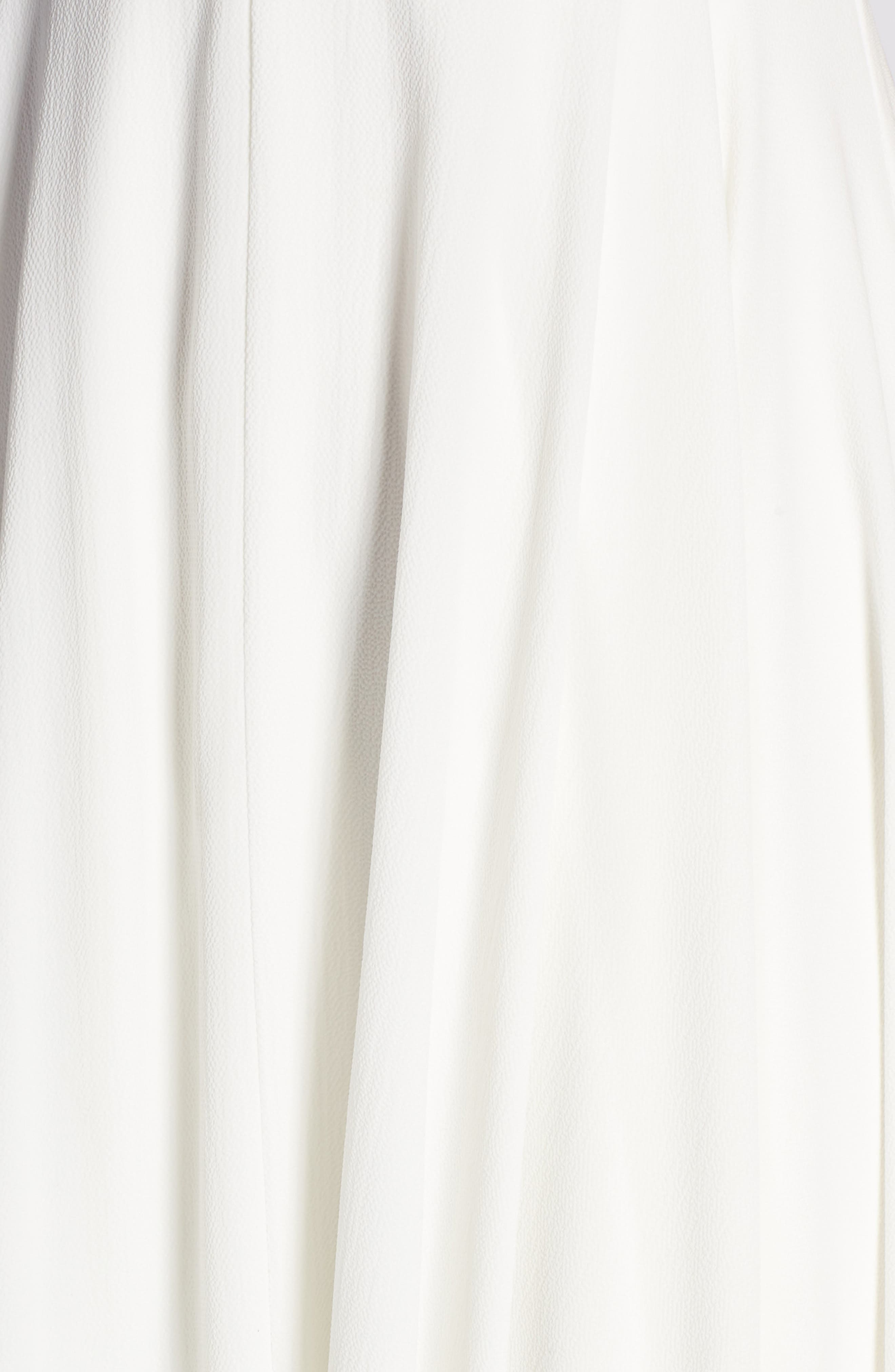 JOANNA AUGUST, Nico Plunging A-Line Gown, Alternate thumbnail 5, color, WHITE
