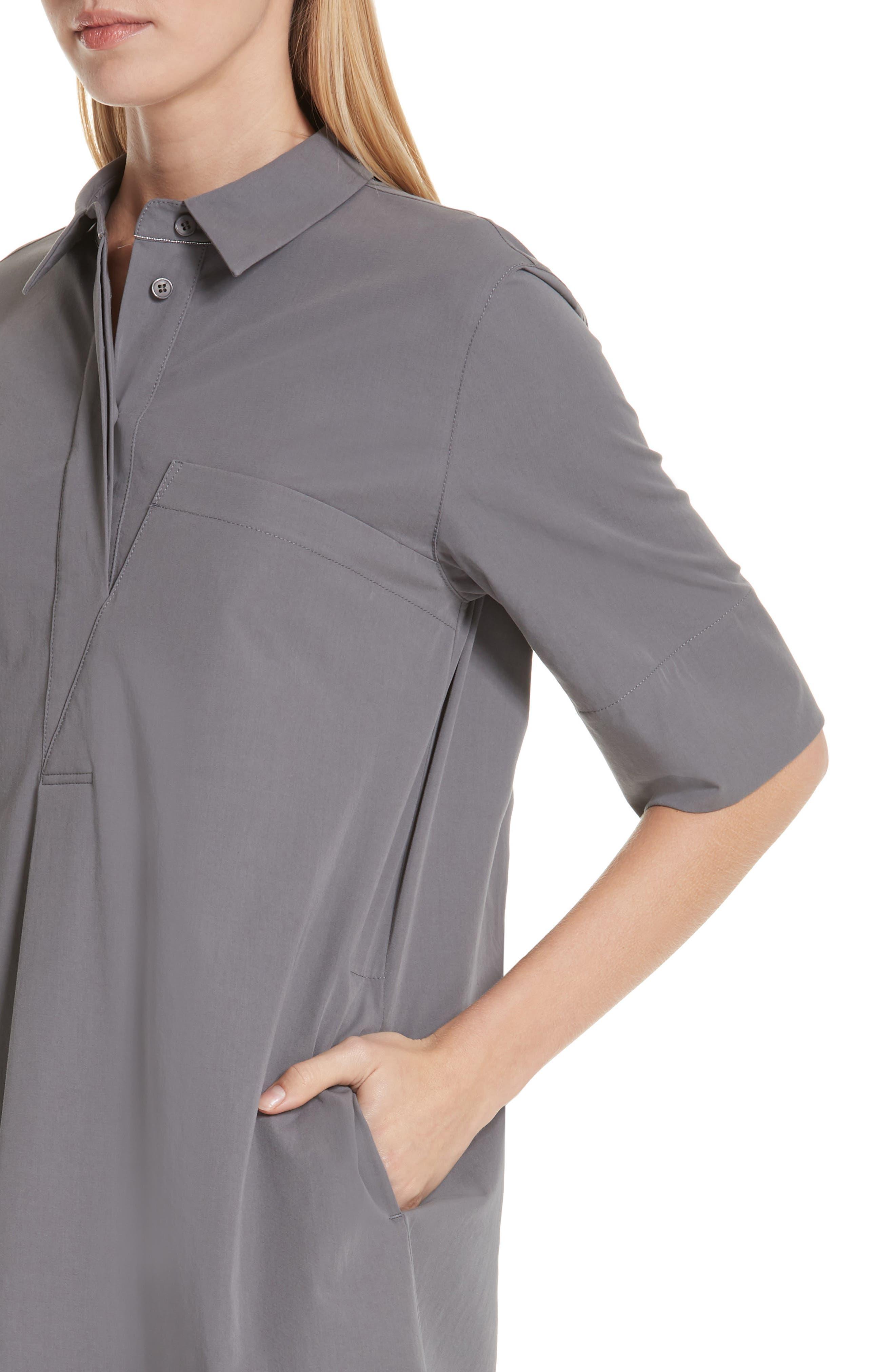 LAFAYETTE 148 NEW YORK, Casper Stretch Cotton Shirtdress, Alternate thumbnail 6, color, ROCK