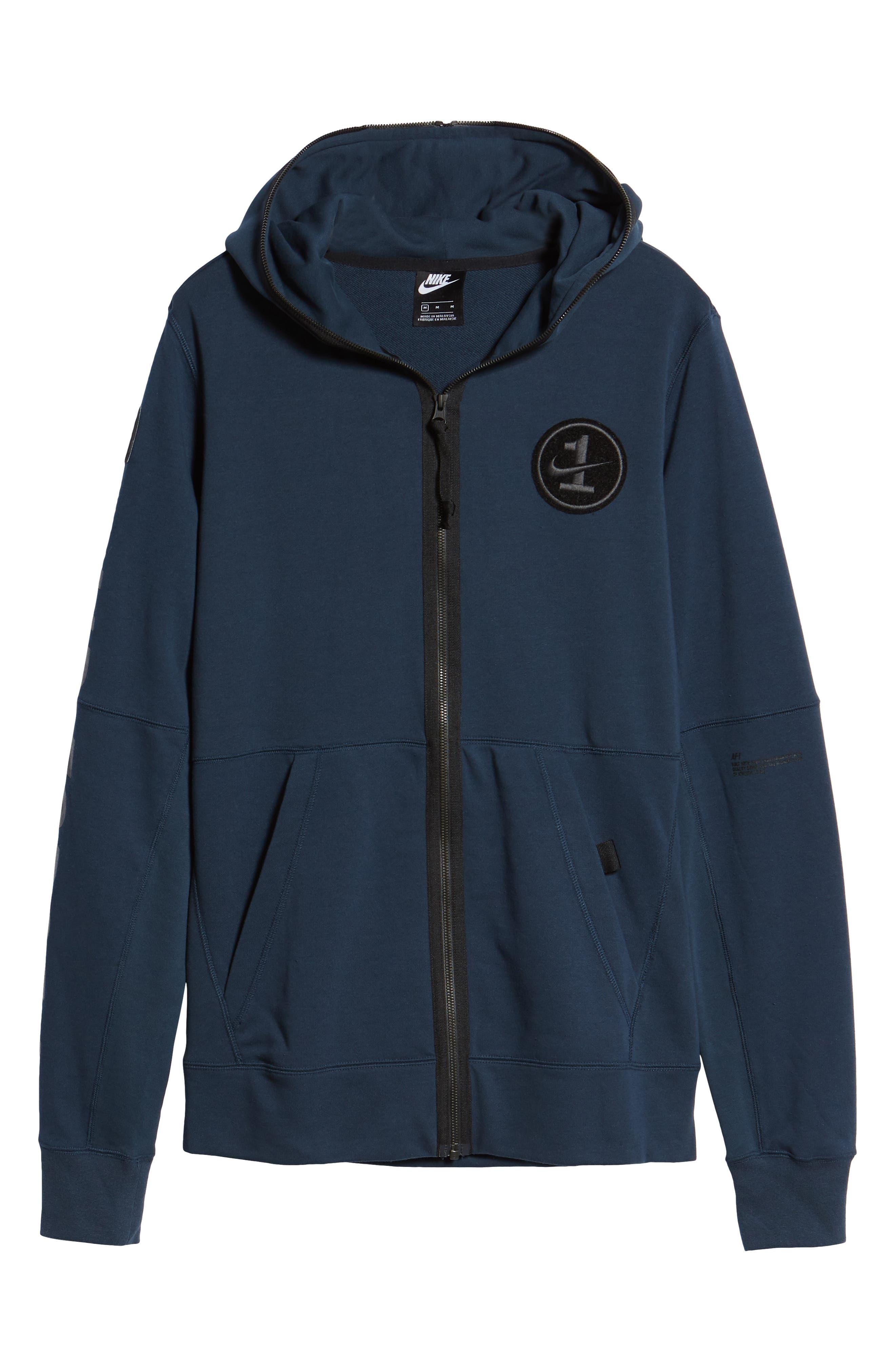 NIKE, Air Force One Zip Hoodie Jacket, Alternate thumbnail 7, color, ARMORY NAVY/ BLACK