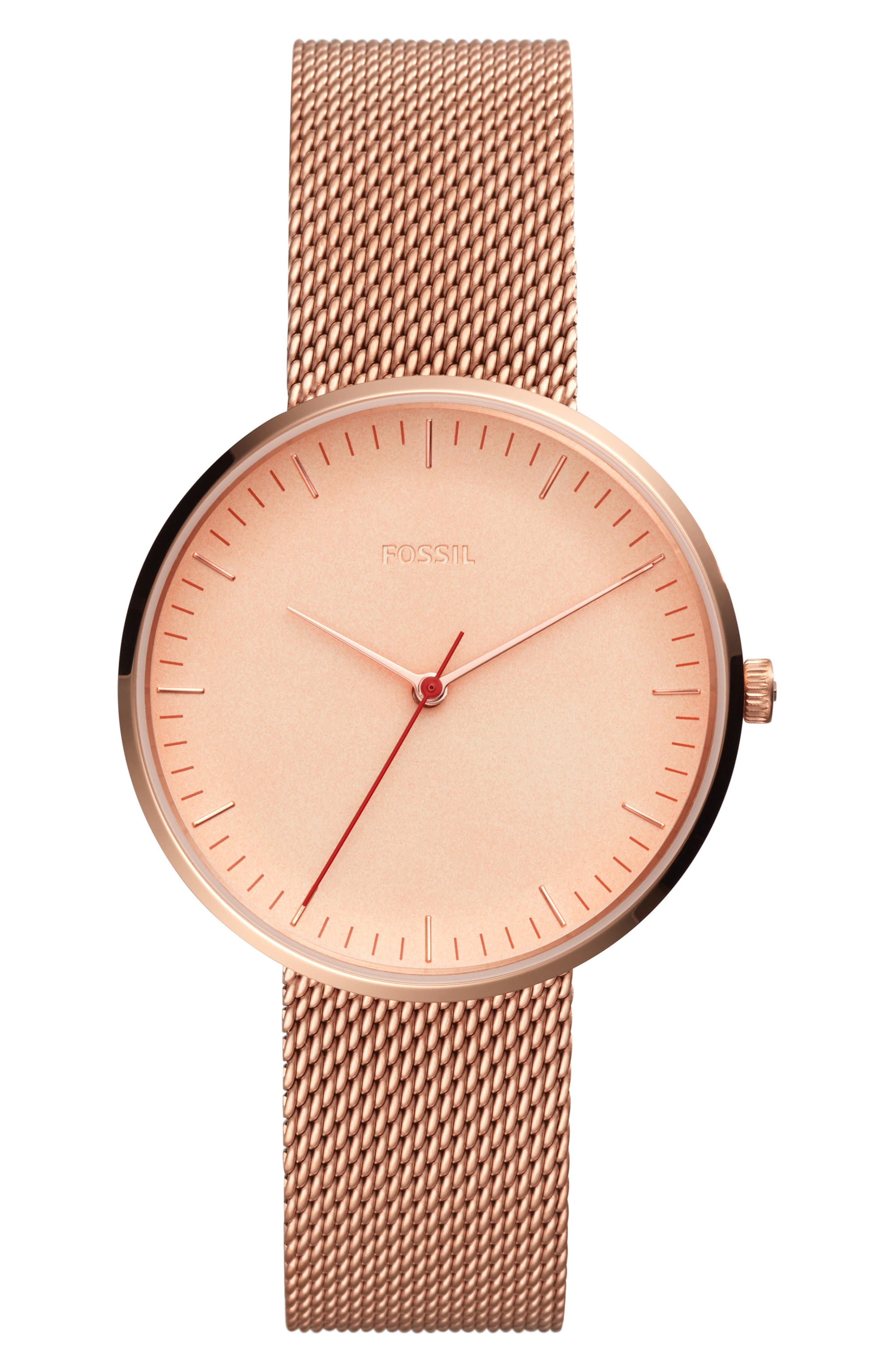 FOSSIL, Essentialist Mesh Bracelet Watch, 38mm, Main thumbnail 1, color, ROSE GOLD