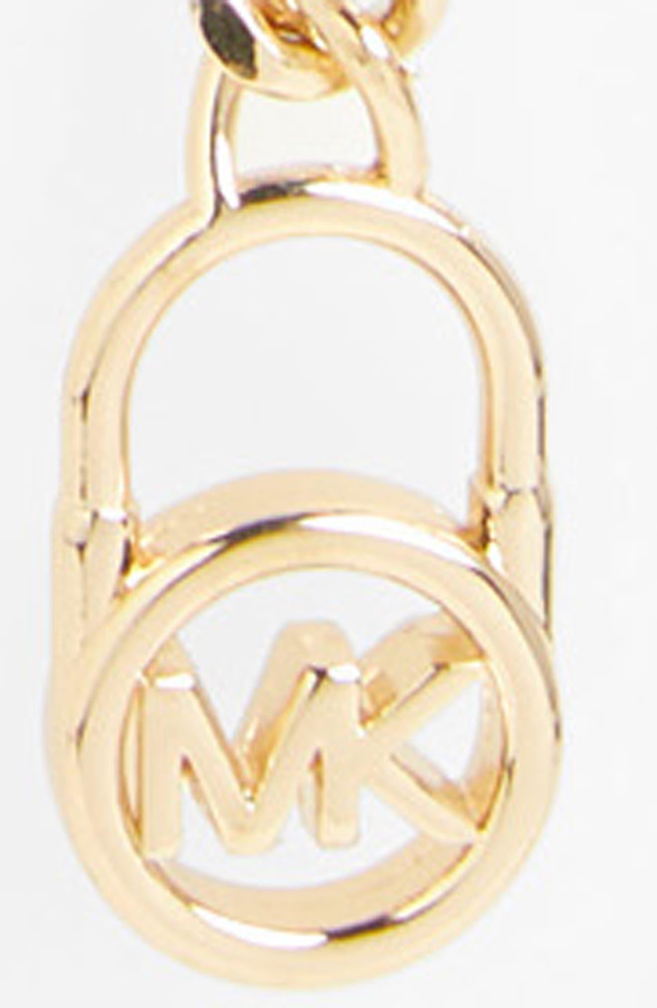 MICHAEL MICHAEL KORS, Hamilton Logo Lock Chain Belt, Alternate thumbnail 3, color, GOLD