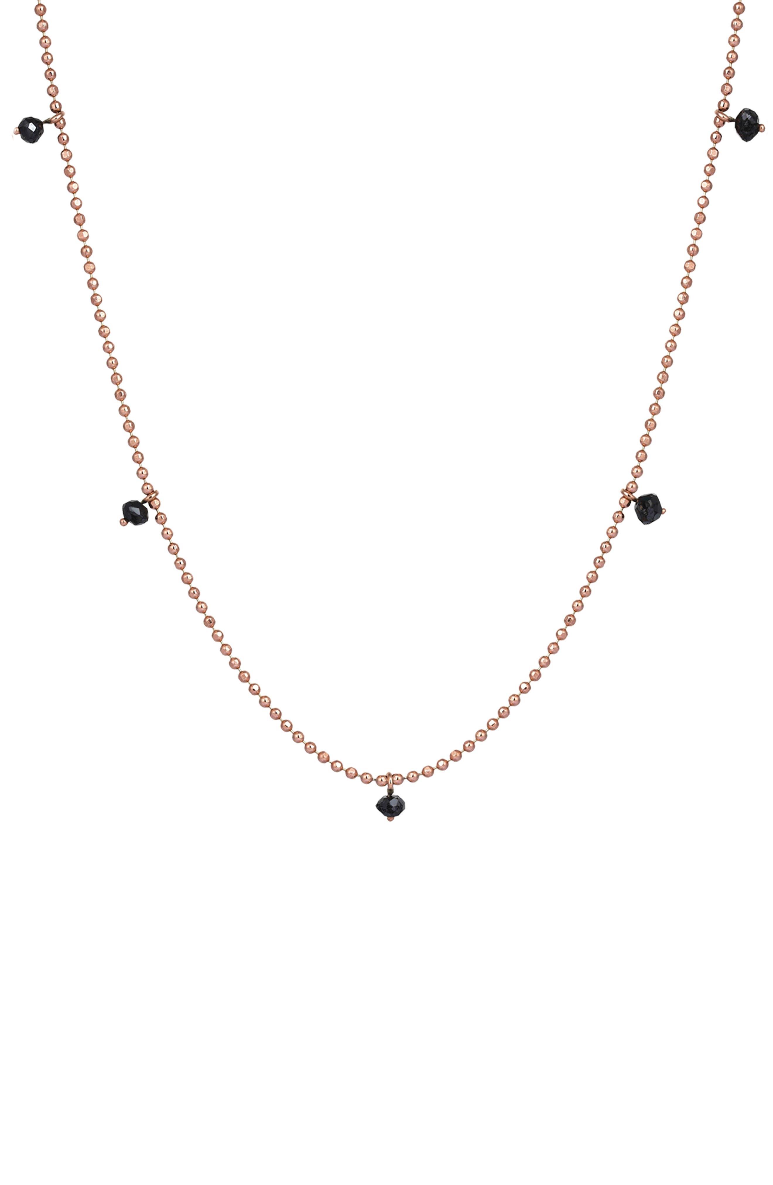 KISMET BY MILKA, Black Diamond Pendant Necklace, Main thumbnail 1, color, ROSE GOLD