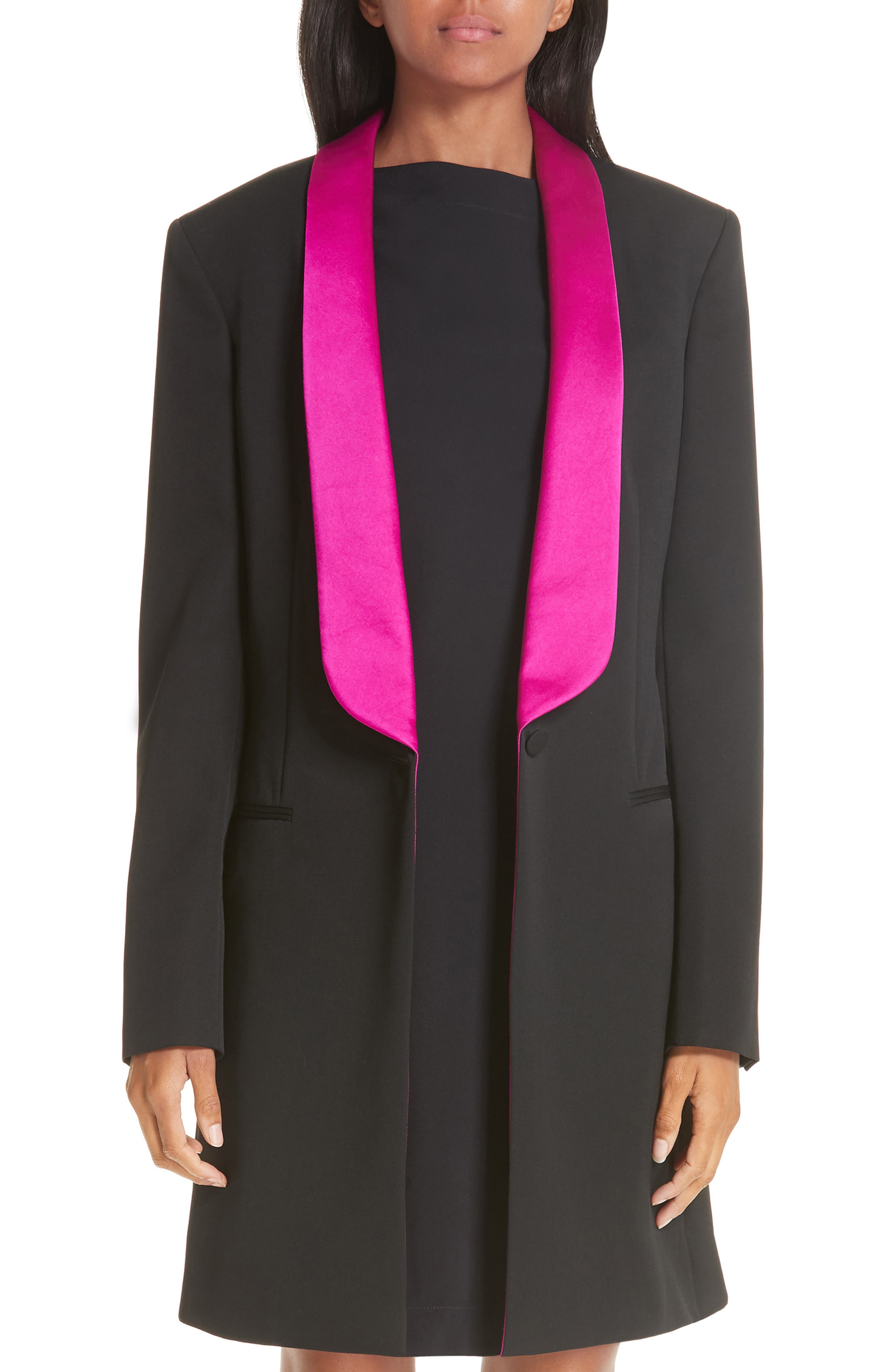 CALVIN KLEIN 205W39NYC, Contrast Lapel Wool Gabardine Jacket, Main thumbnail 1, color, BLACK DARK ORCHID