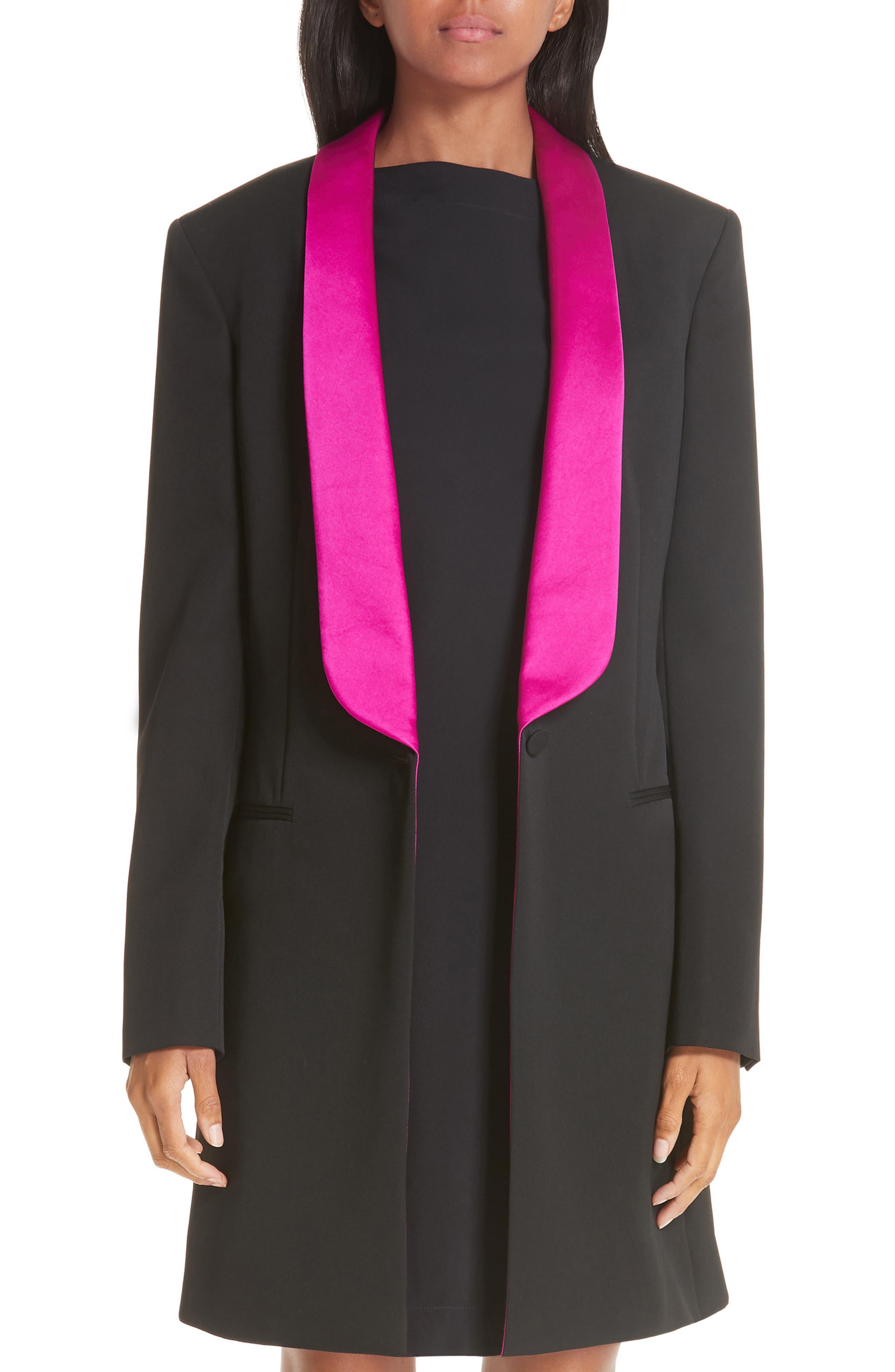 CALVIN KLEIN 205W39NYC Contrast Lapel Wool Gabardine Jacket, Main, color, BLACK DARK ORCHID