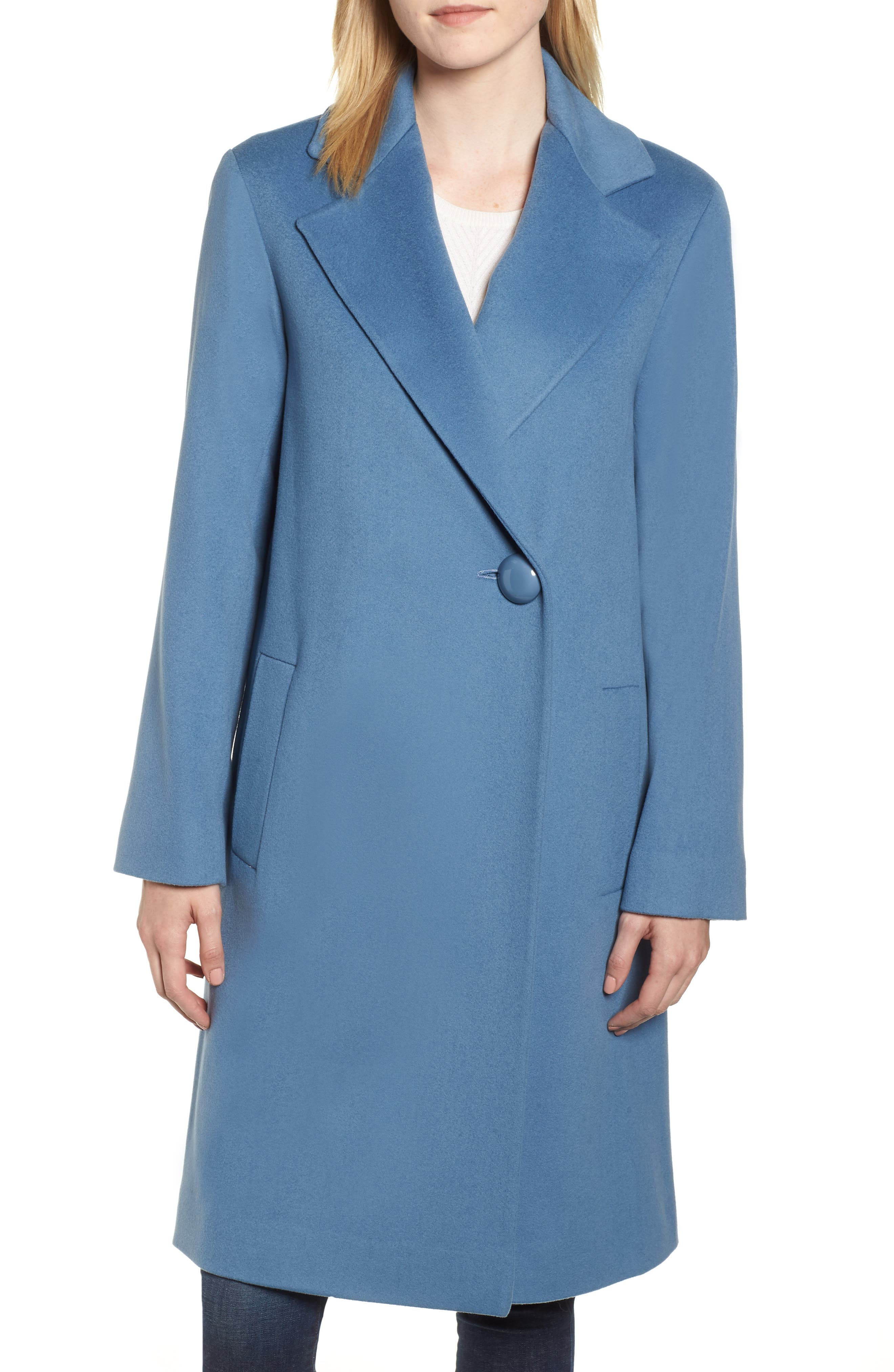 FLEURETTE One-Button Loro Piana Wool Coat, Main, color, CORNFLOWER