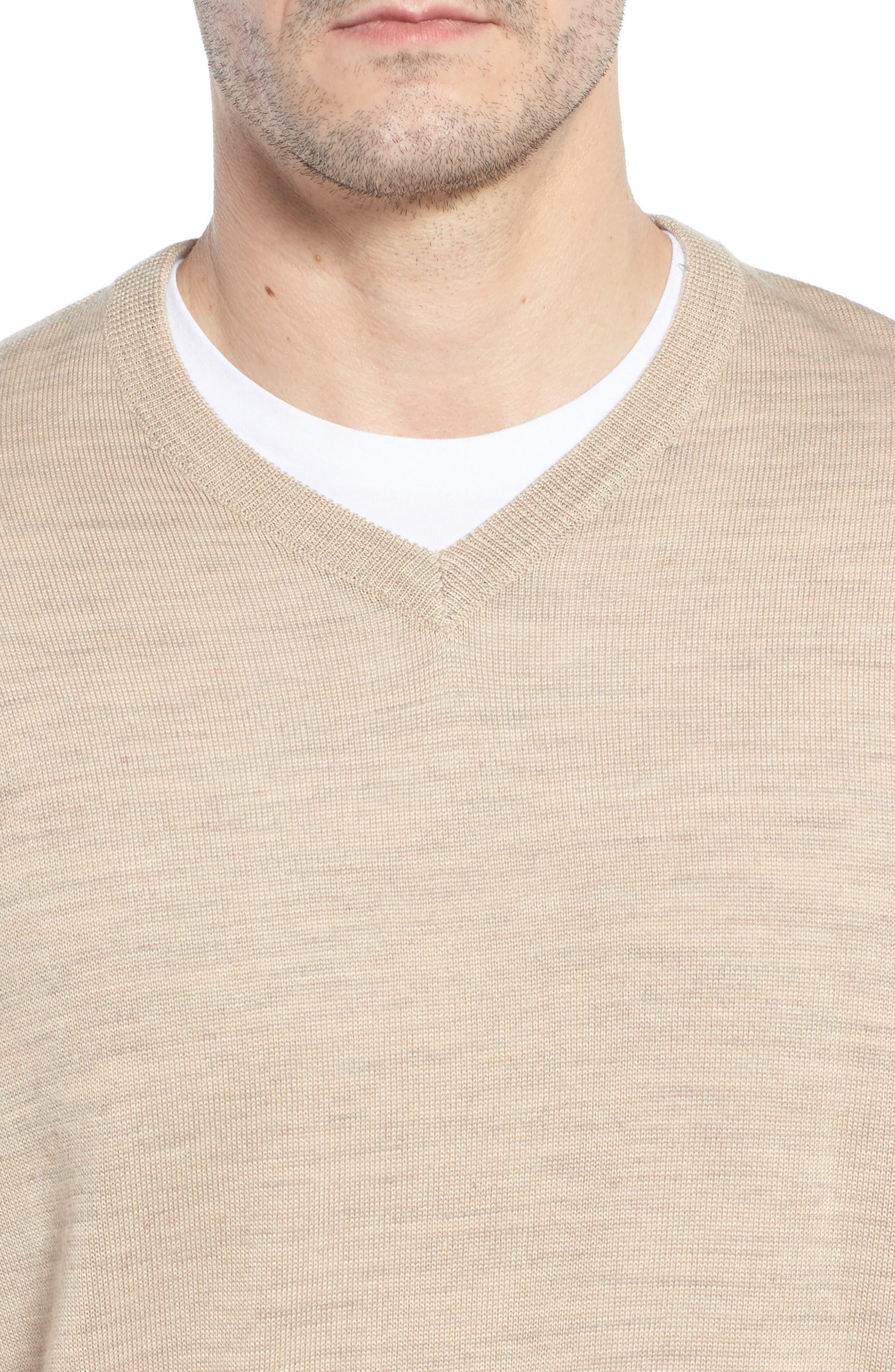 CUTTER & BUCK, 'Douglas' Merino Wool Blend V-Neck Sweater, Alternate thumbnail 4, color, SAND HEATHER