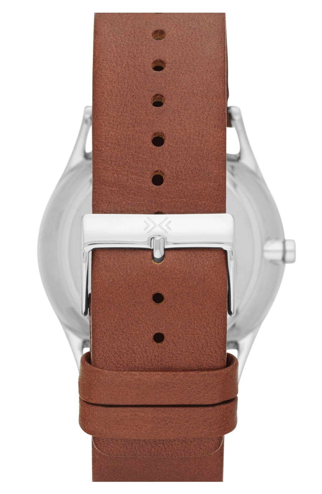 SKAGEN, 'Holst' Multifunction Leather Strap Watch, 40mm, Alternate thumbnail 2, color, SADDLE/ CHARCOAL