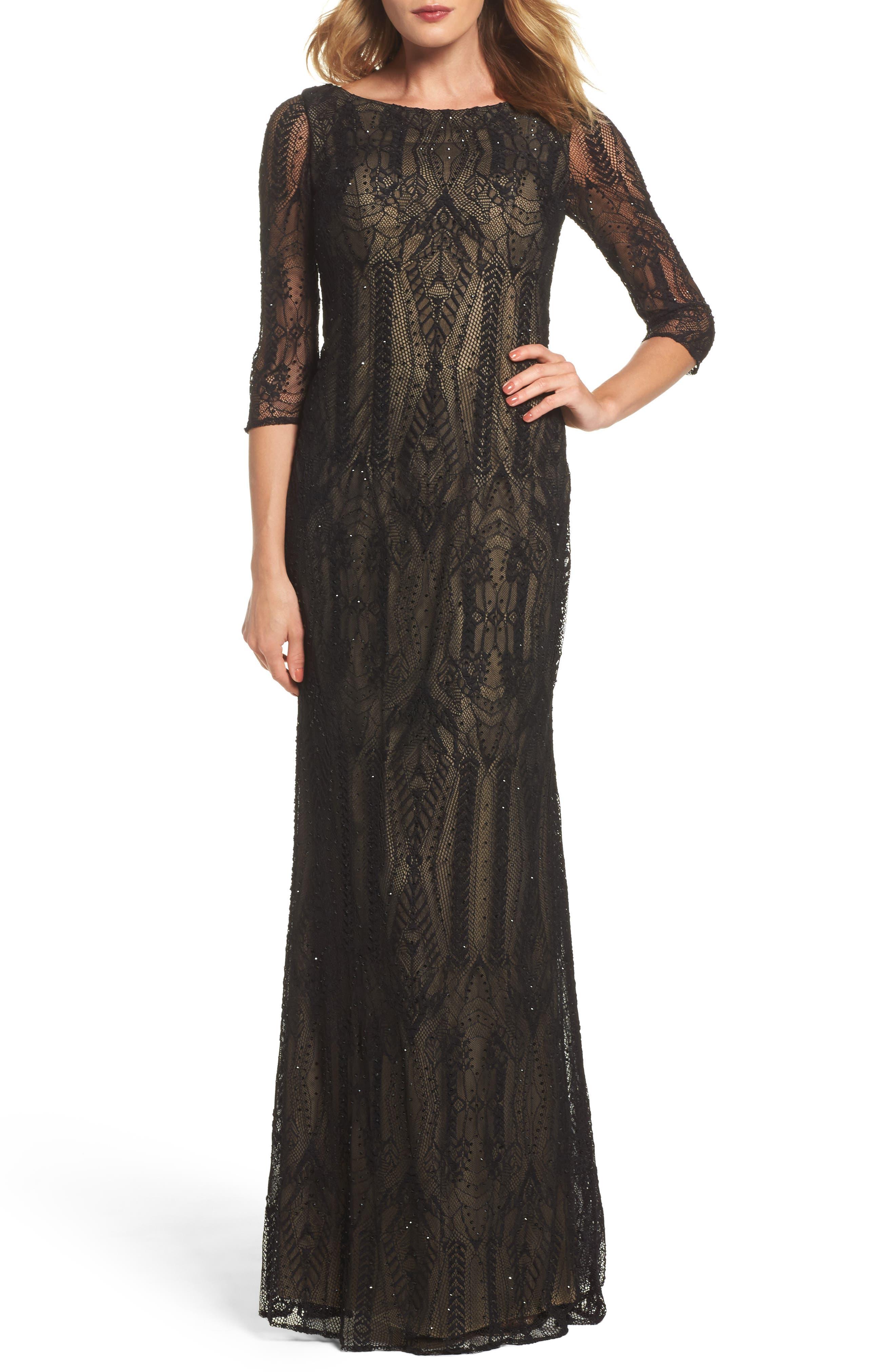 La Femme Crystal Lace Column Gown, Black