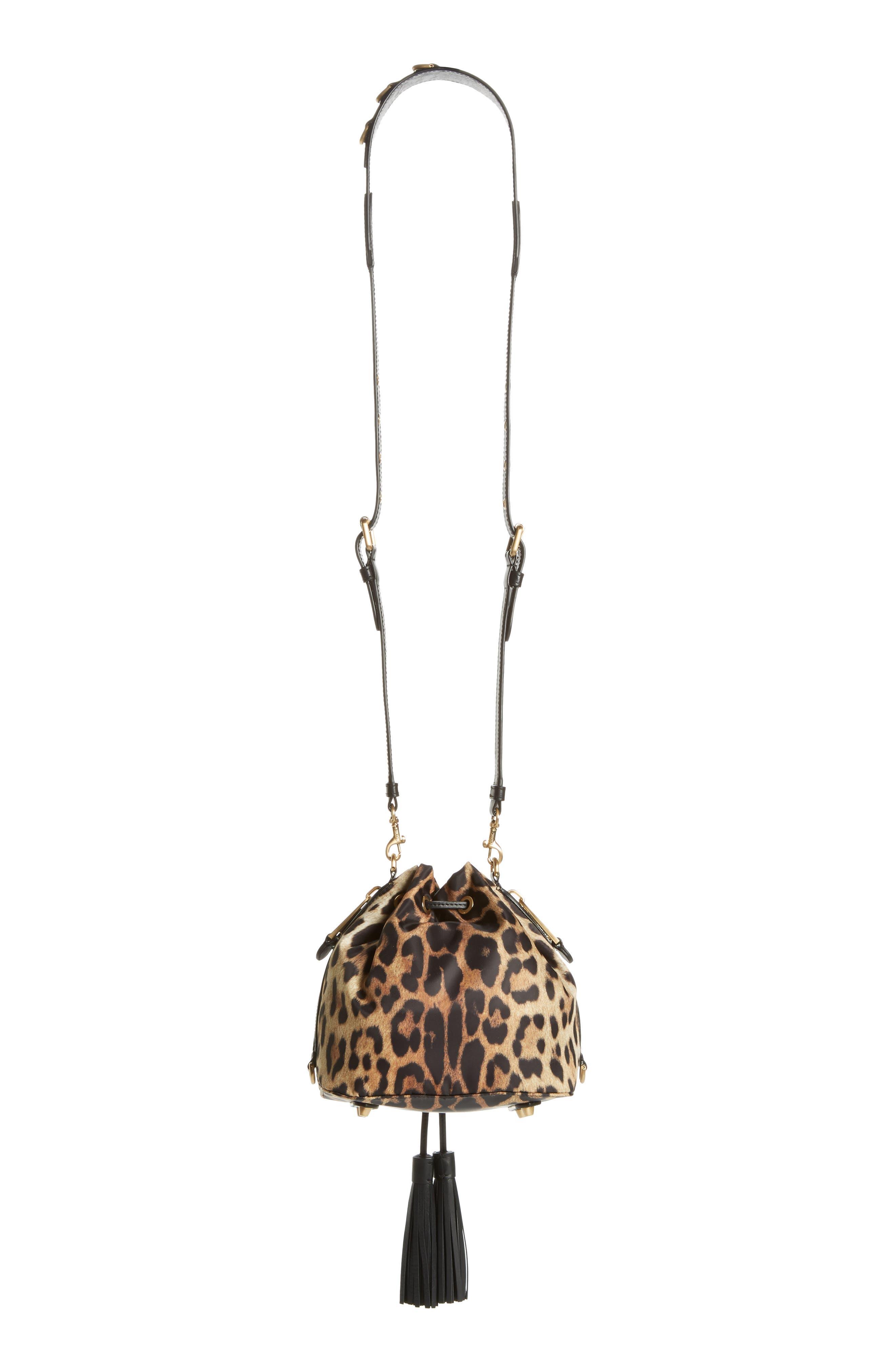 MOSCHINO, Leopard Print Nylon Convertible Bucket Bag, Alternate thumbnail 4, color, BLACK