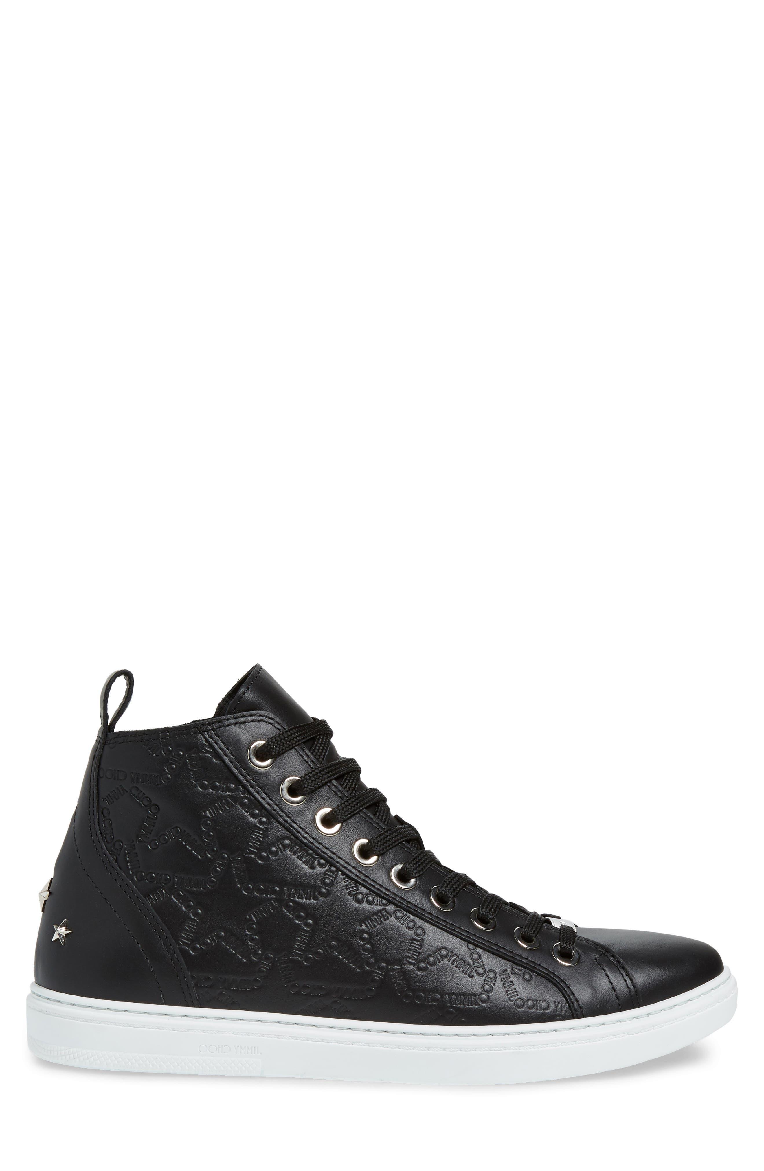 JIMMY CHOO, Colt High Top Sneaker, Alternate thumbnail 3, color, BLACK