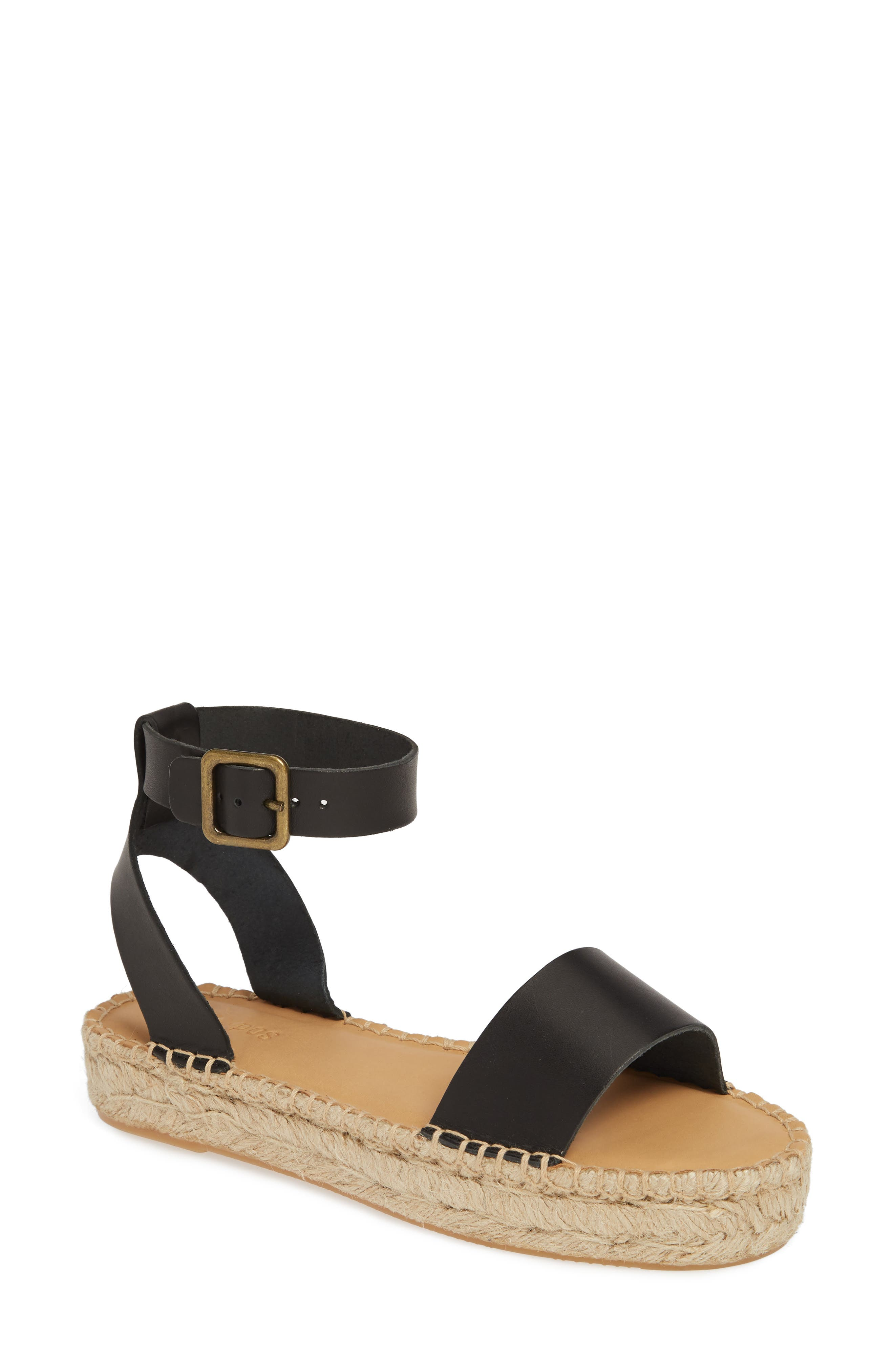 SOLUDOS Cadiz Espadrille Sandal, Main, color, BLACK