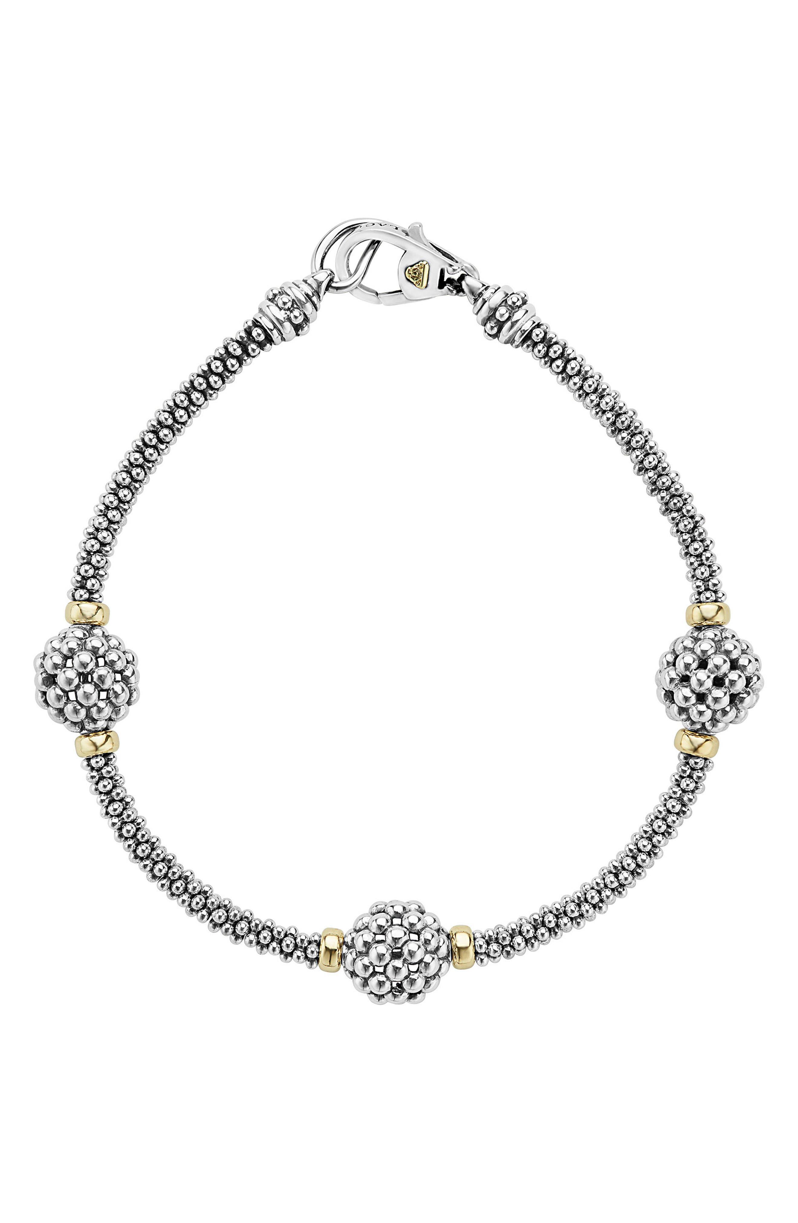 LAGOS, 'Caviar Forever' Ball Station Bracelet, Main thumbnail 1, color, SILVER/ GOLD
