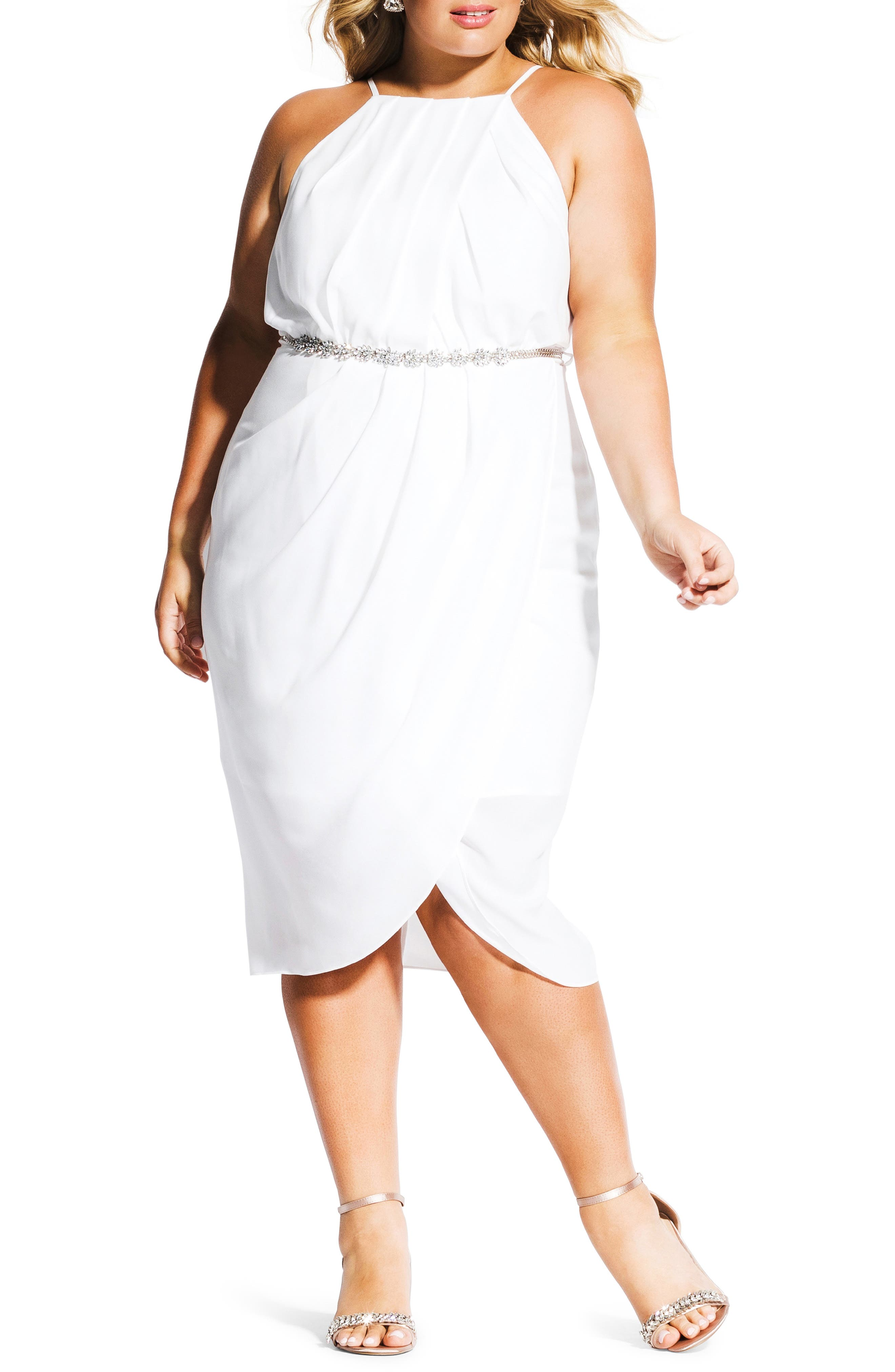 Plus Size City Chic In Love Faux Wrap Dress, Ivory