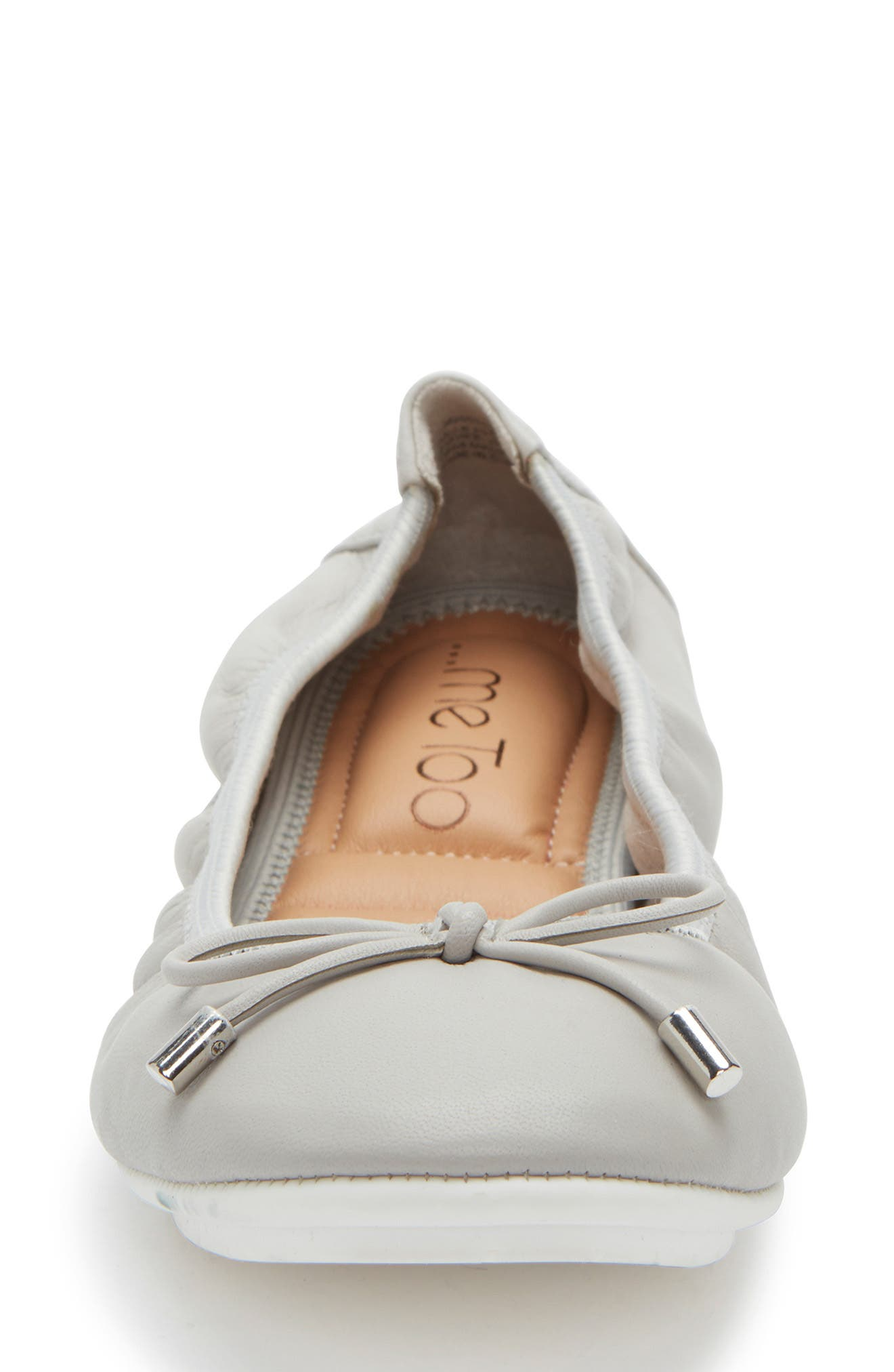ME TOO, 'Halle 2.0' Ballet Flat, Alternate thumbnail 4, color, LIGHT GREY LEATHER