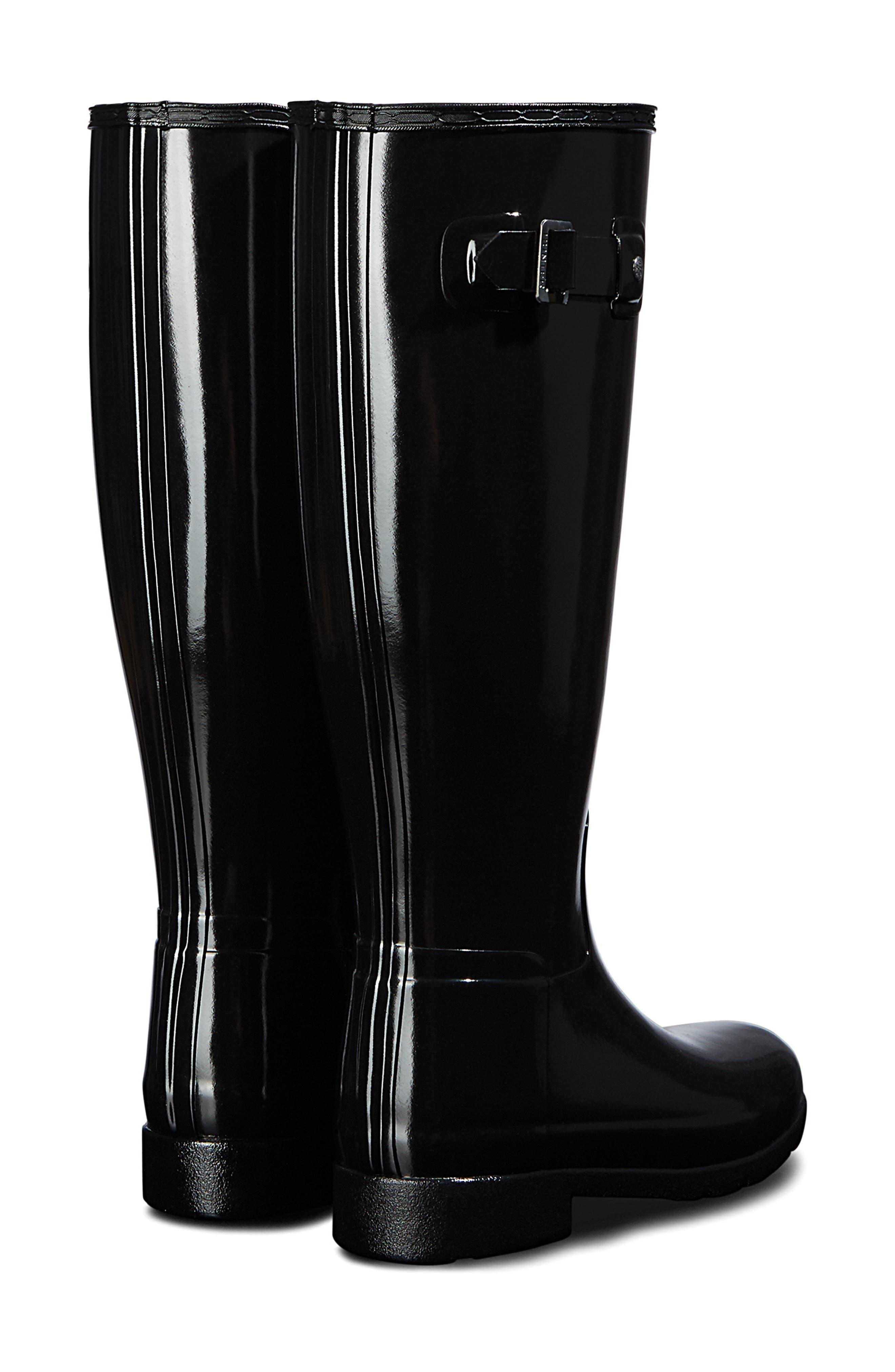 HUNTER, Original Refined Gloss Tall Waterproof Rain Boot, Alternate thumbnail 2, color, BLACK