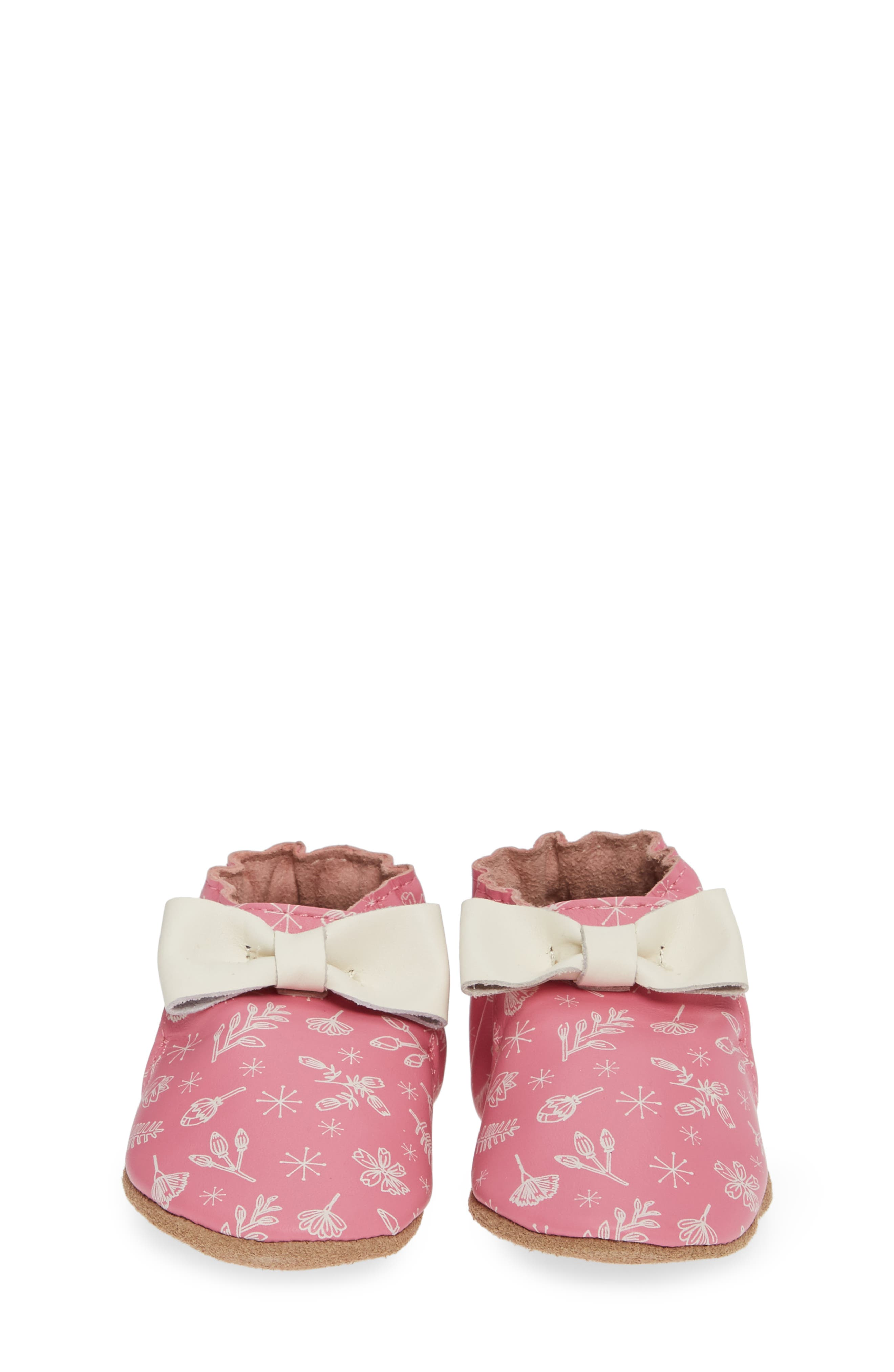 ROBEEZ<SUP>®</SUP>, Francesca Floral Crib Shoe, Alternate thumbnail 5, color, PINK