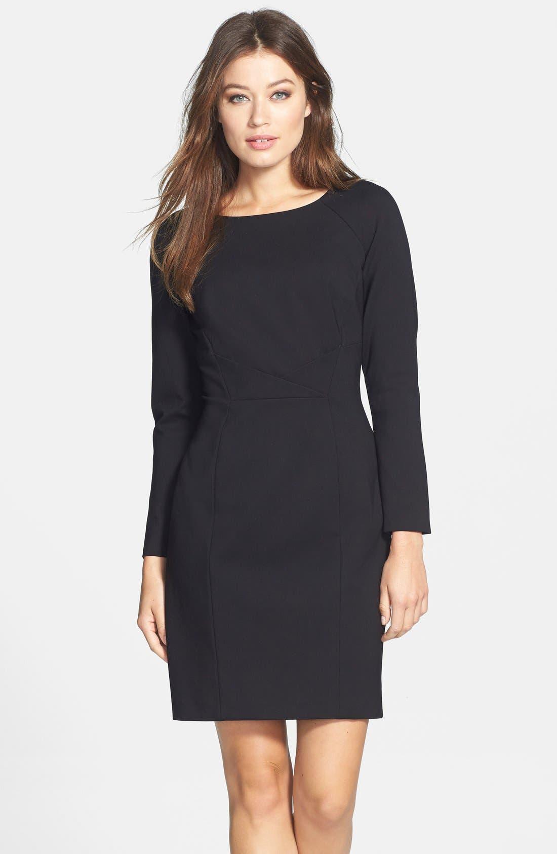 TAHARI, Pleat Detail Long Sleeve Ponte Sheath Dress, Main thumbnail 1, color, 001