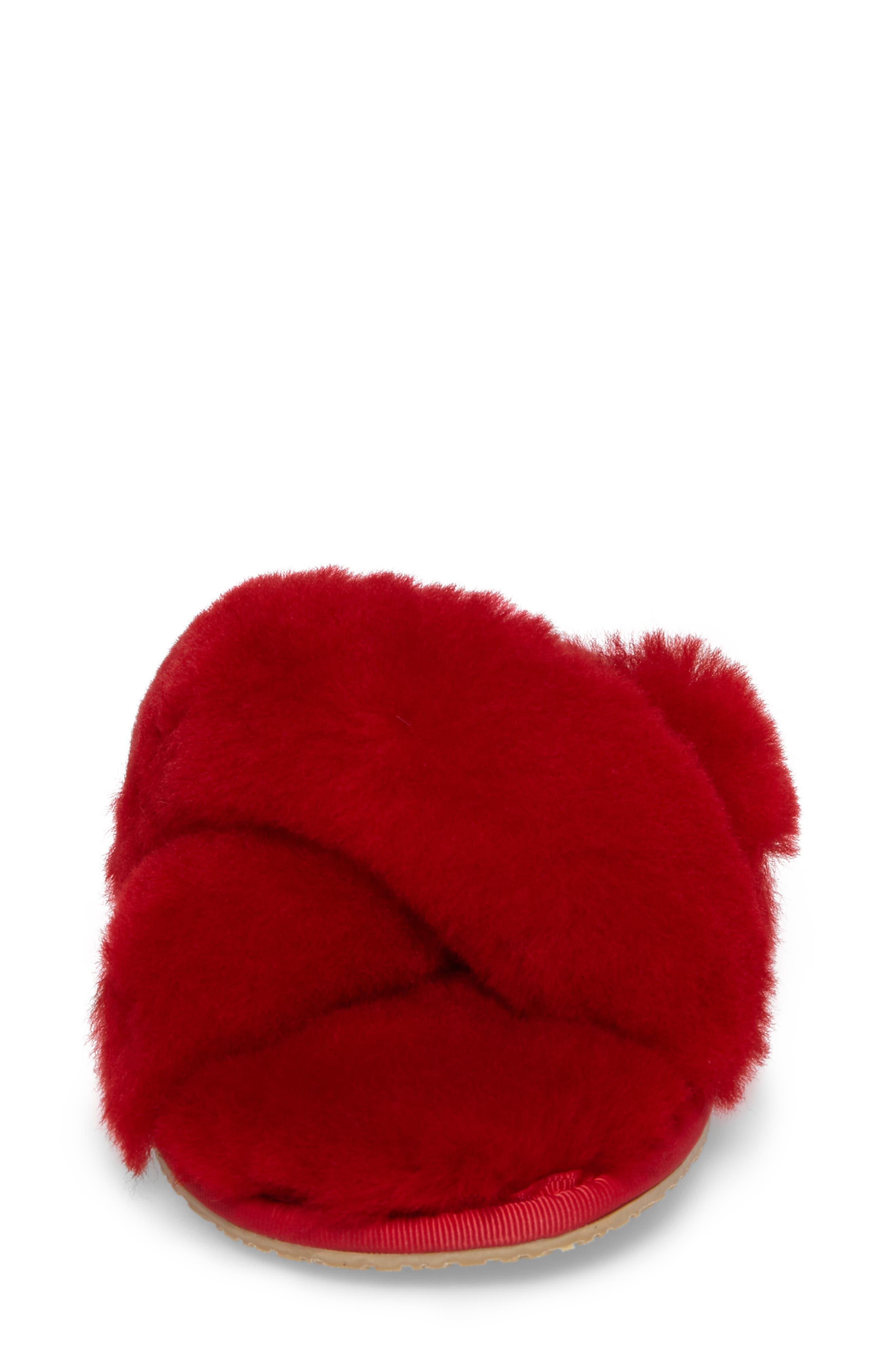 PATRICIA GREEN, Mt. Hood Genuine Shearling Slipper, Alternate thumbnail 4, color, RED