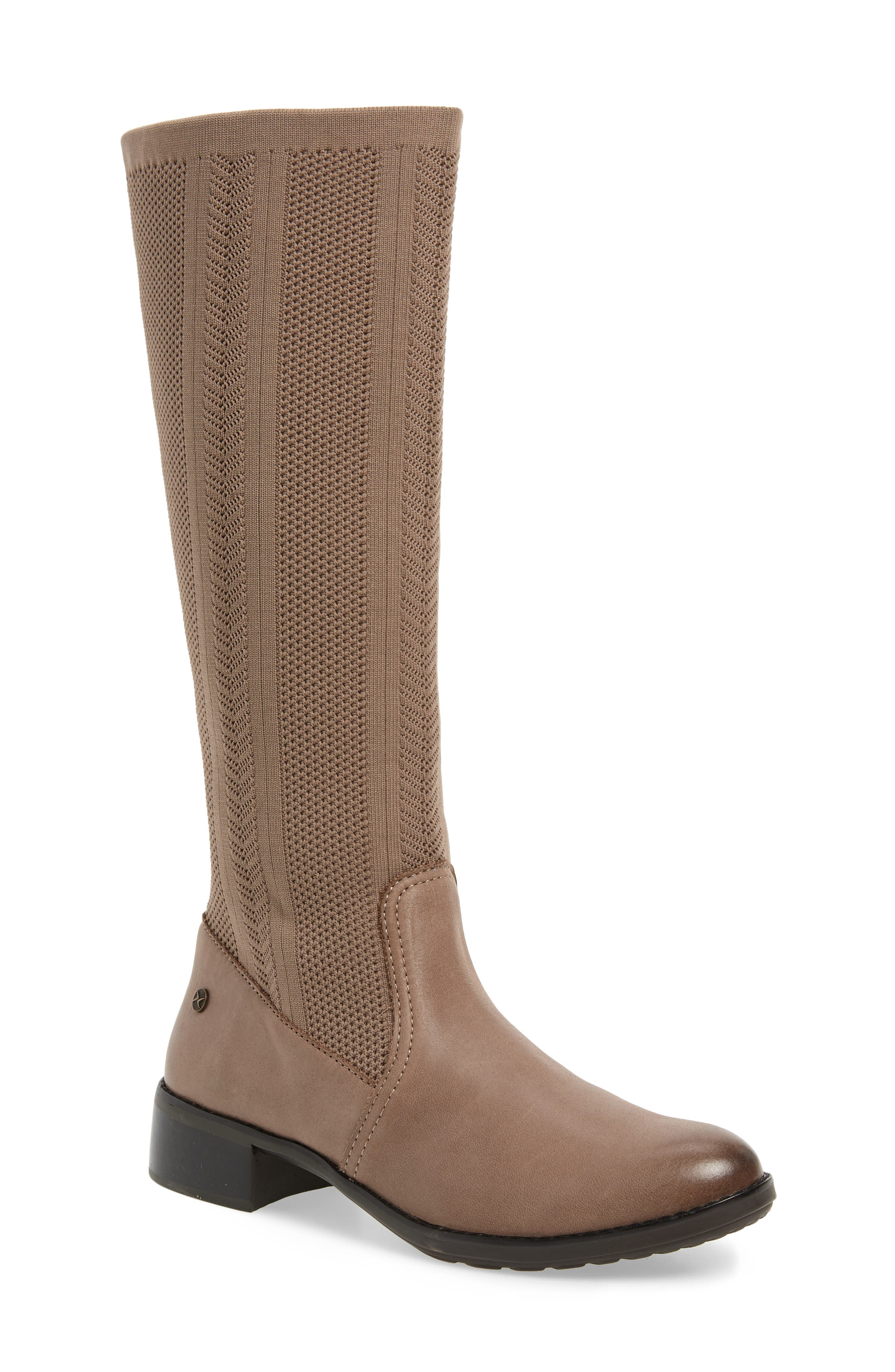 AETREX, Belle Sock Knit Shaft Boot, Main thumbnail 1, color, TAN LEATHER