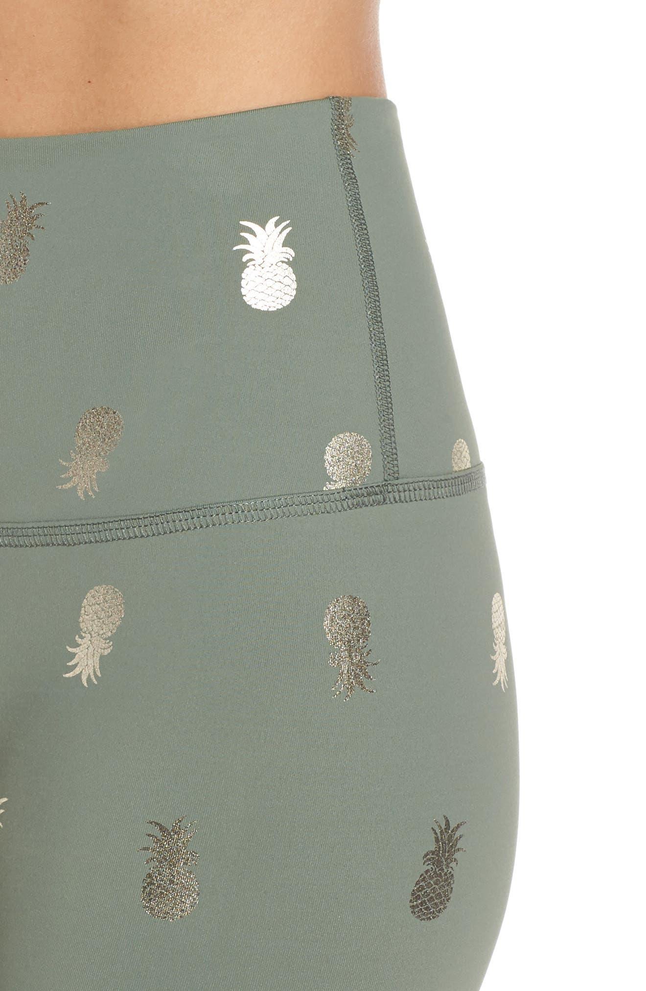 BEYOND YOGA, Pineapple Midi Leggings, Alternate thumbnail 5, color, ALOHA GREEN PINEAPPLES