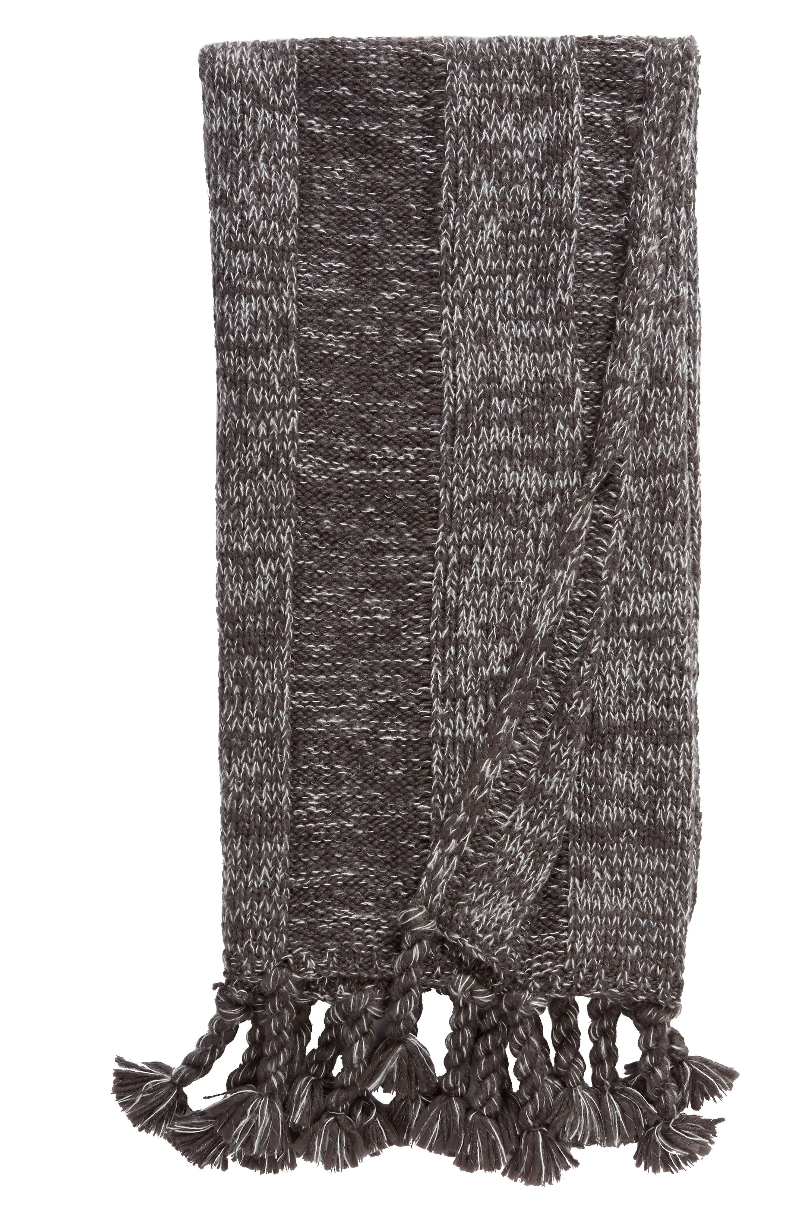 TREASURE & BOND, Fringe Knit Throw, Main thumbnail 1, color, GREY ONYX