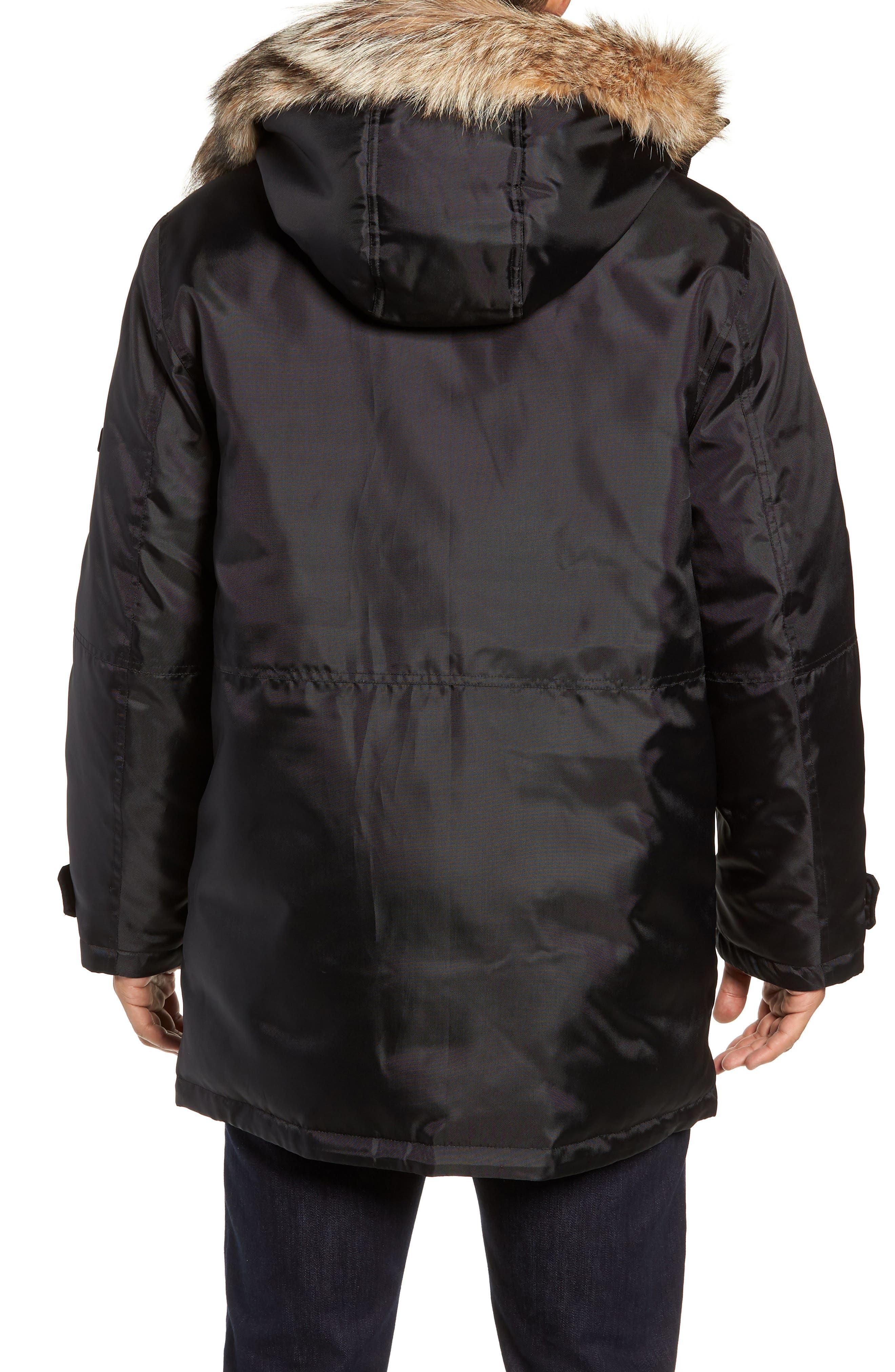 MARC NEW YORK, Lafayette Genuine Fur Trim Hooded Parka, Alternate thumbnail 2, color, BLACK