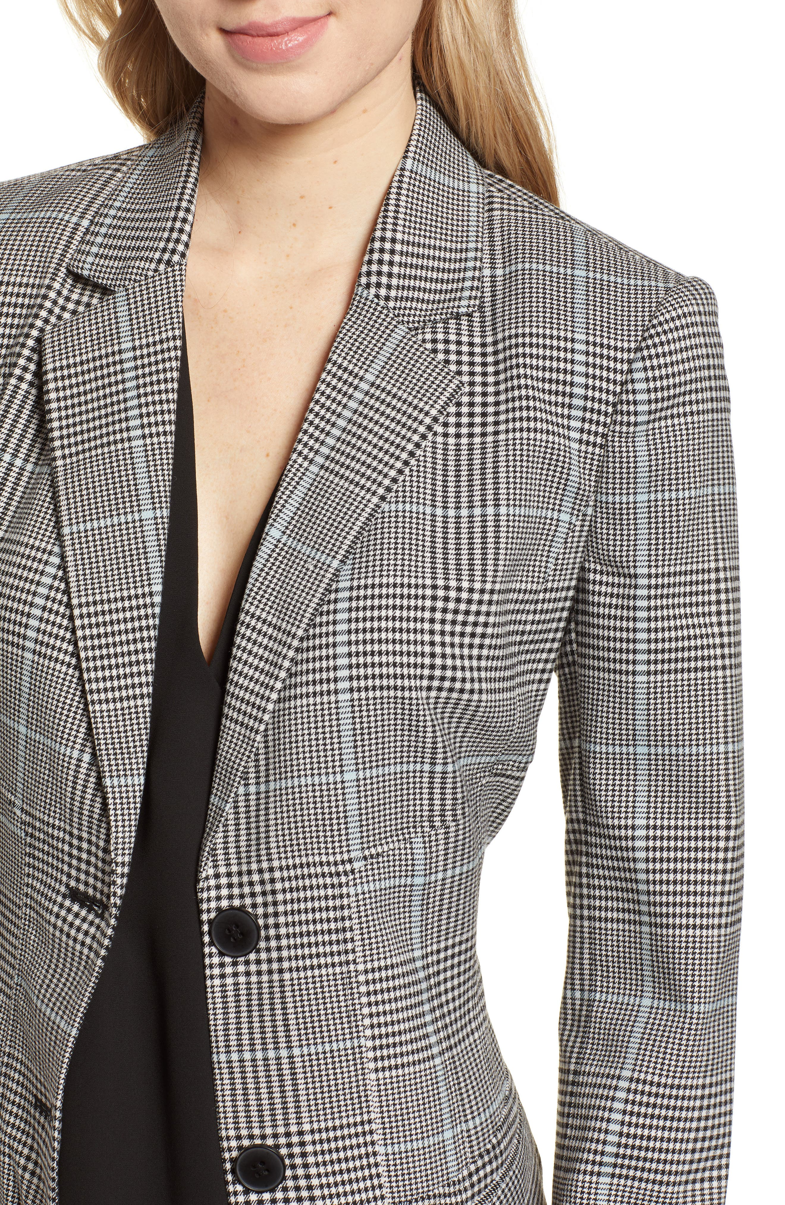 CHELSEA28, Plaid Blazer, Alternate thumbnail 5, color, BLUE OMPHALODES CHECK PATTERN