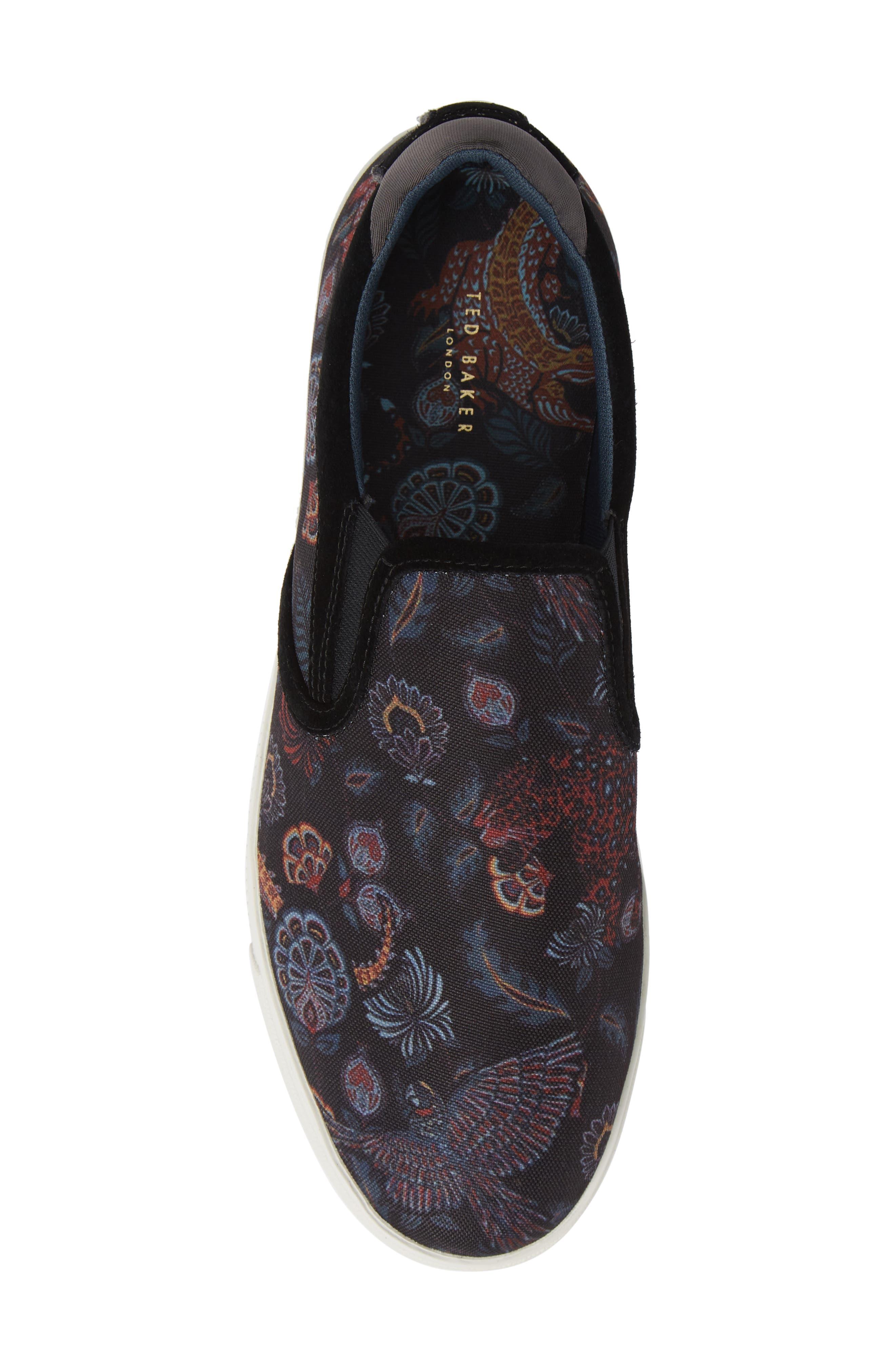 TED BAKER LONDON, Mhako Slip-On Sneaker, Alternate thumbnail 5, color, BLACK/ GREY