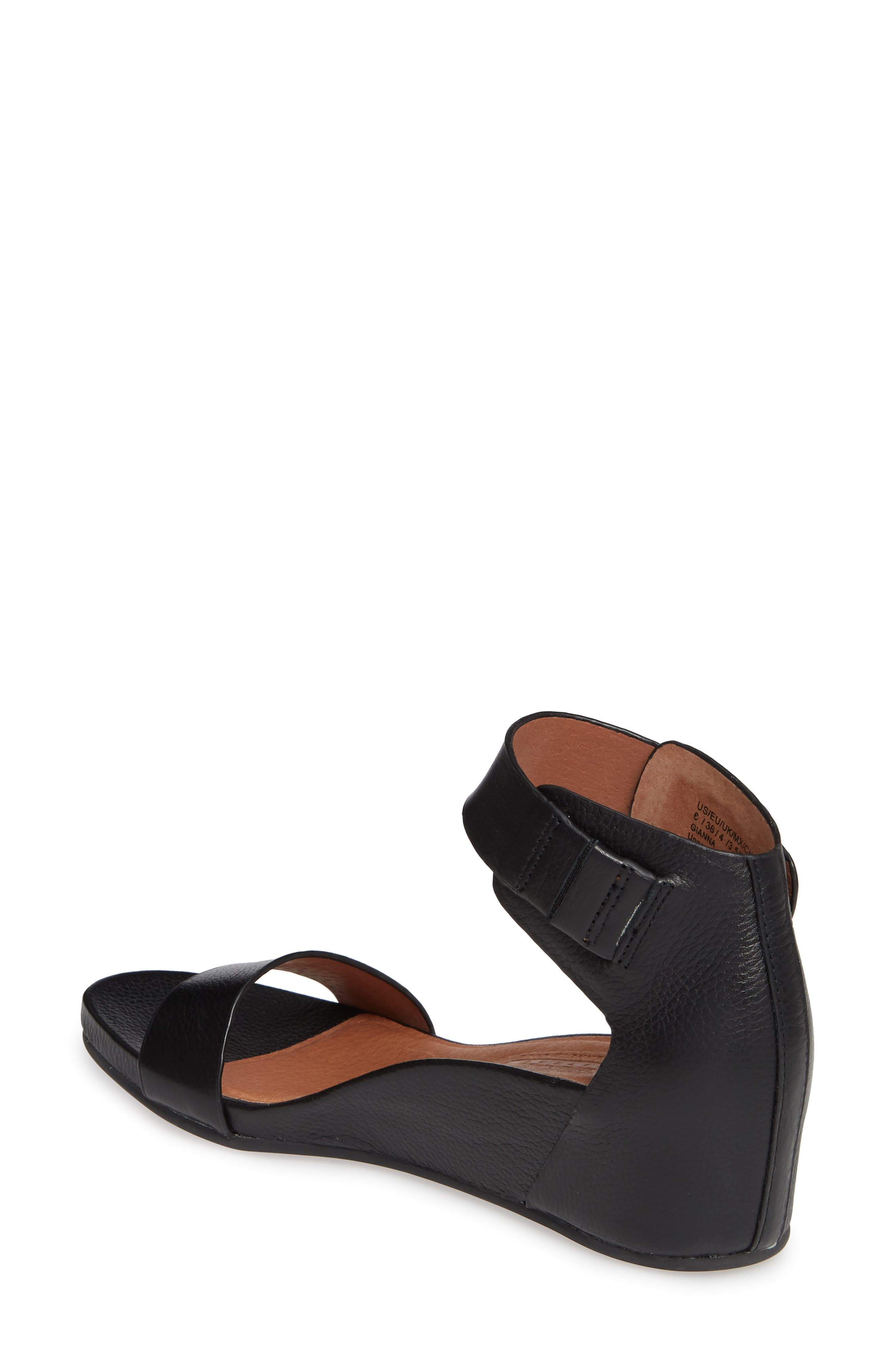 GENTLE SOULS SIGNATURE, Gianna Wedge Sandal, Alternate thumbnail 2, color, BLACK LEATHER