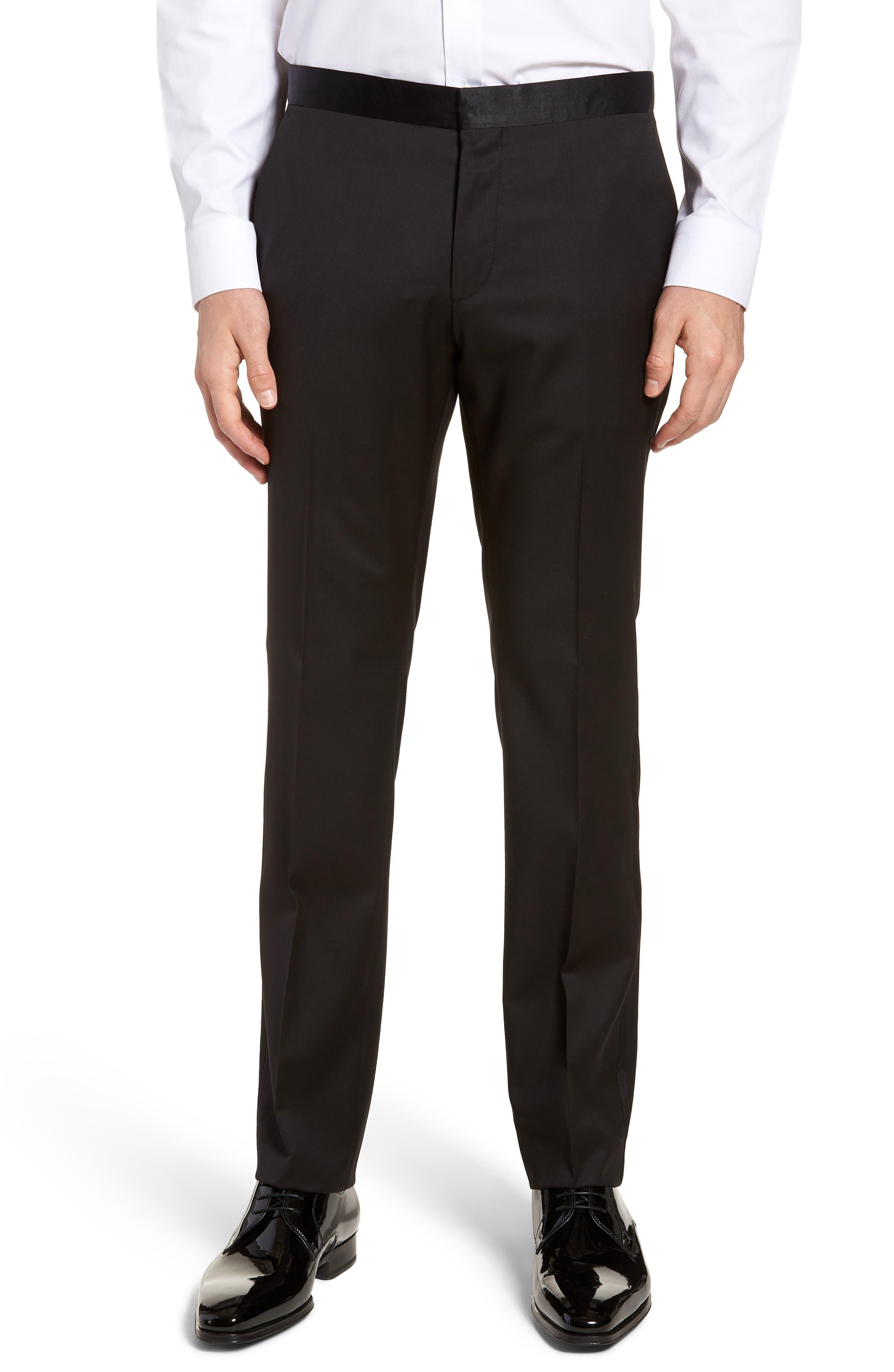 BOSS, Gilan CYL Flat Front Wool Trousers, Main thumbnail 1, color, BLACK