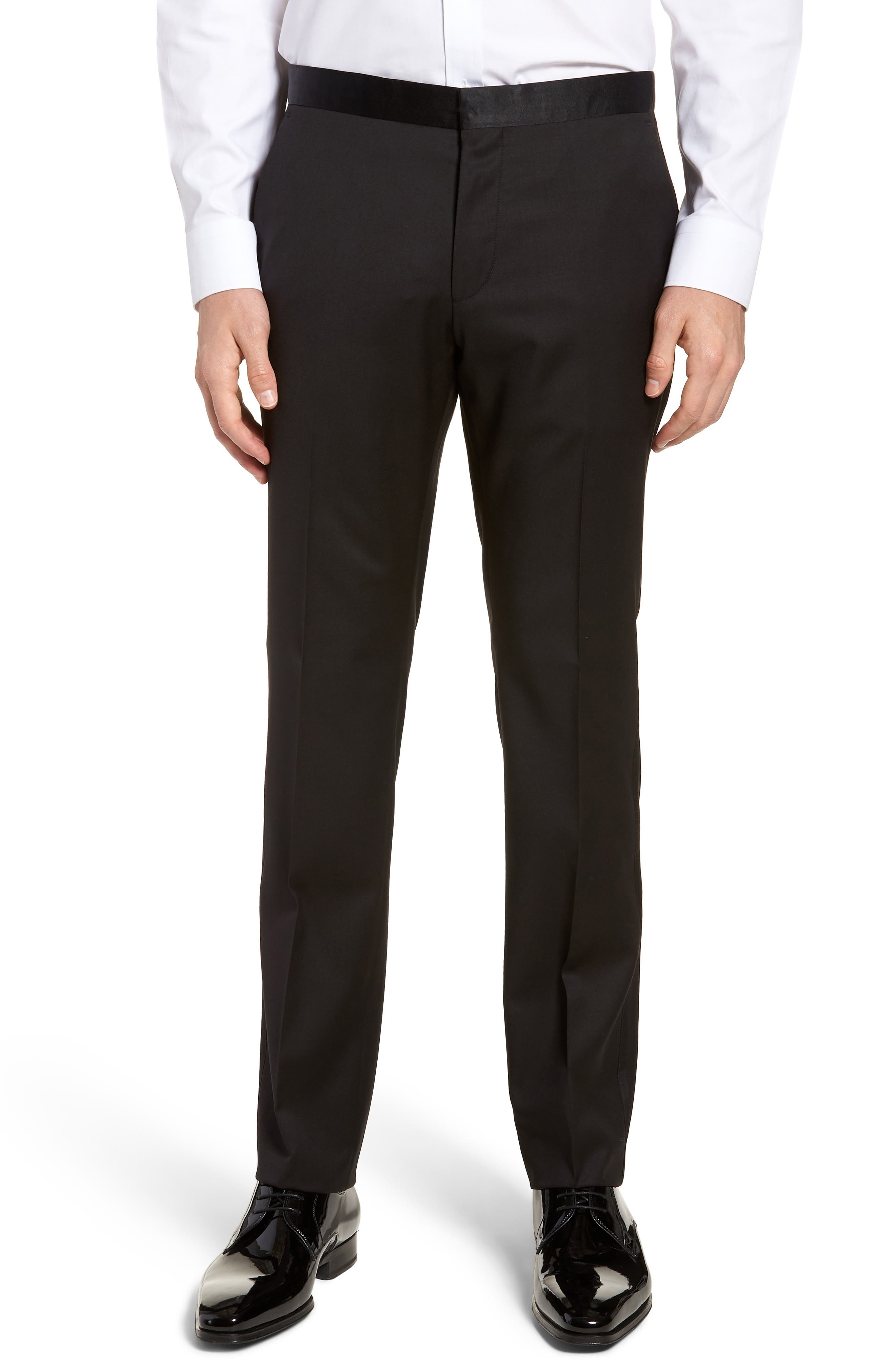 BOSS Gilan CYL Flat Front Wool Trousers, Main, color, BLACK