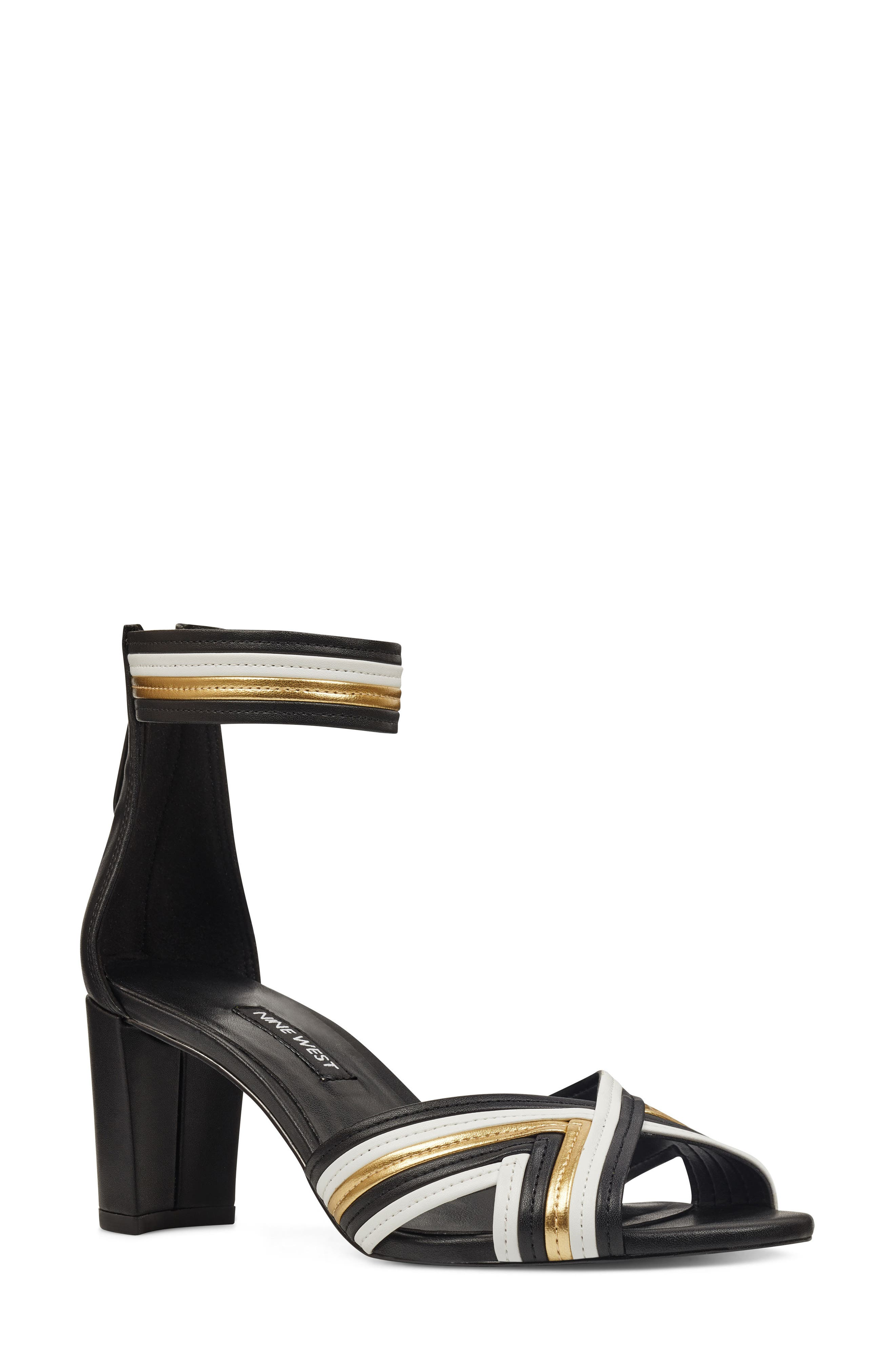 NINE WEST Pearl3 Ankle Strap Sandal, Main, color, BLACK/ WHITE ORO LEATHER