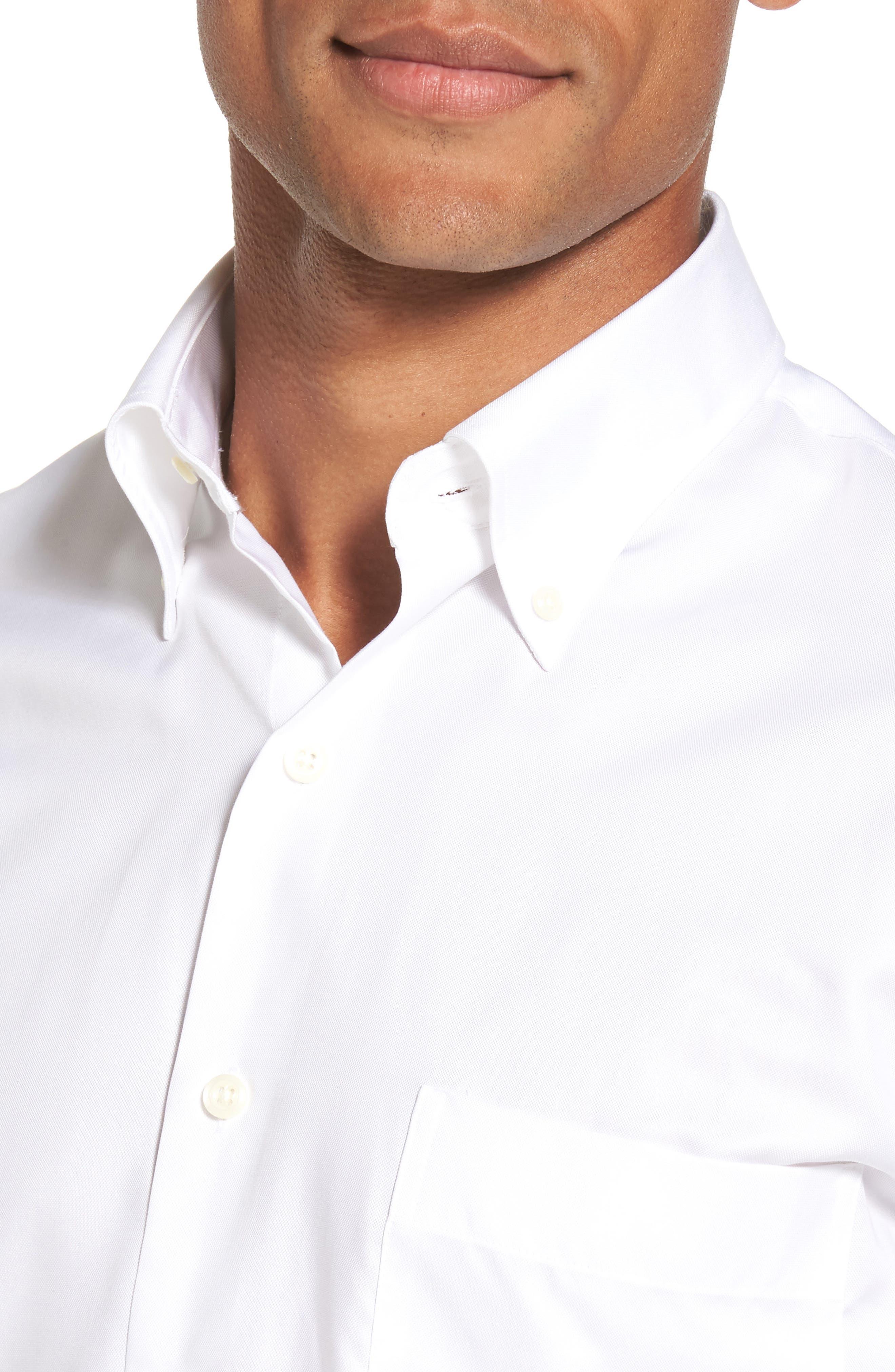 PETER MILLAR, Crown Soft Pinpoint Regular Fit Sport Shirt, Alternate thumbnail 4, color, WHITE
