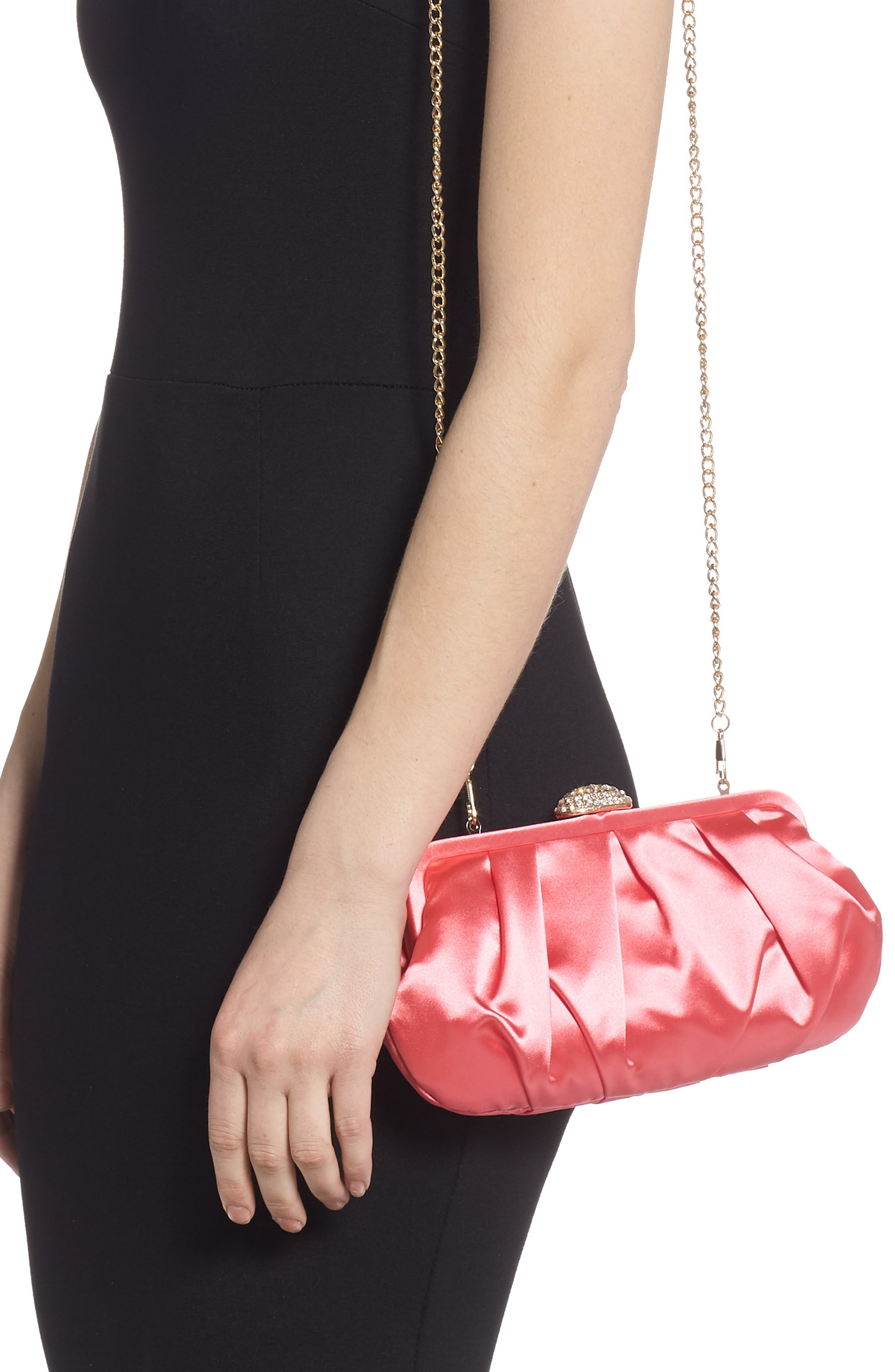 NINA, Concord Pleated Satin Frame Clutch, Alternate thumbnail 2, color, STRAWBERRY PUNCH