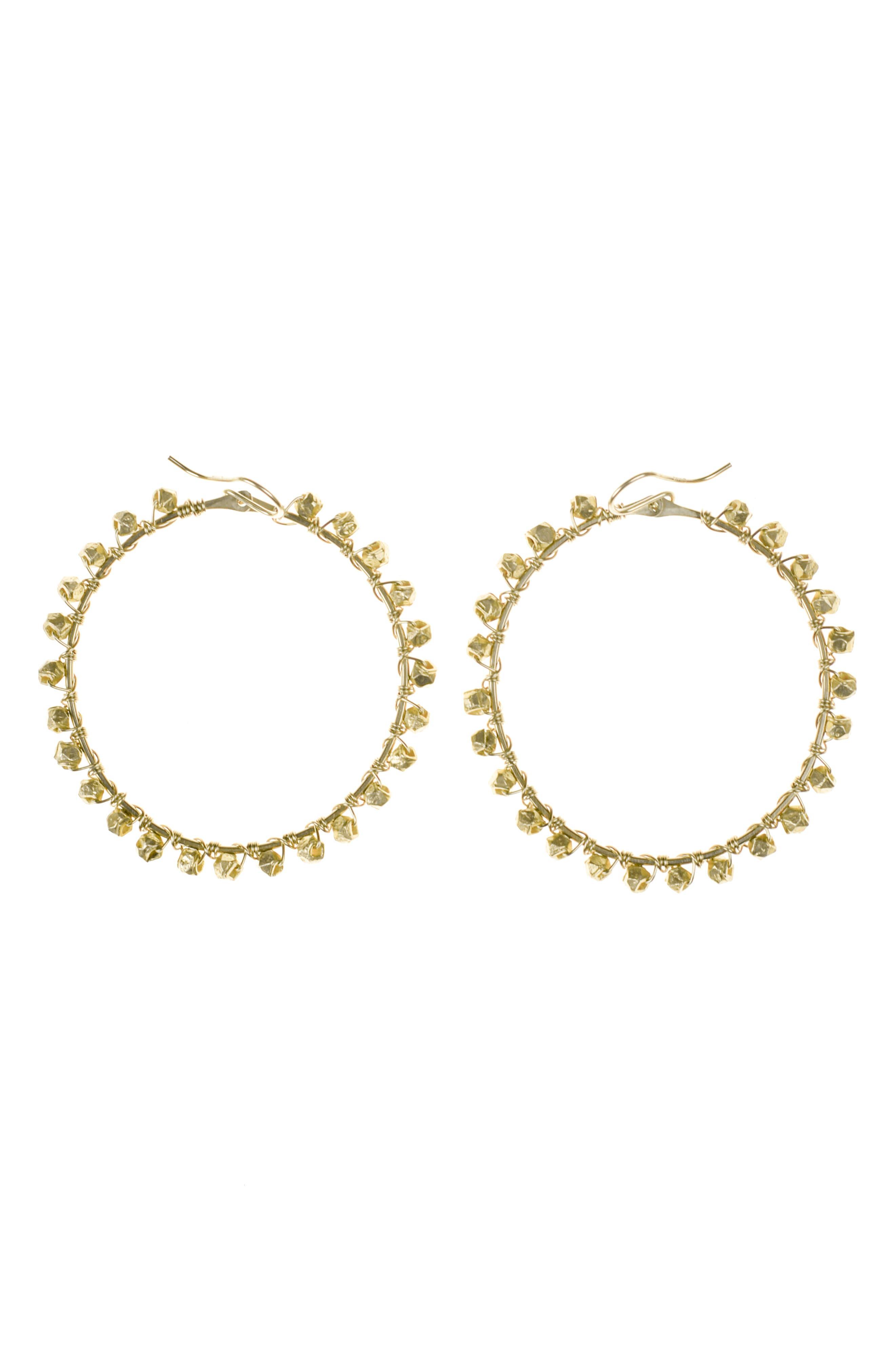 NASHELLE, Bernadette Hoop Earrings, Main thumbnail 1, color, GOLD