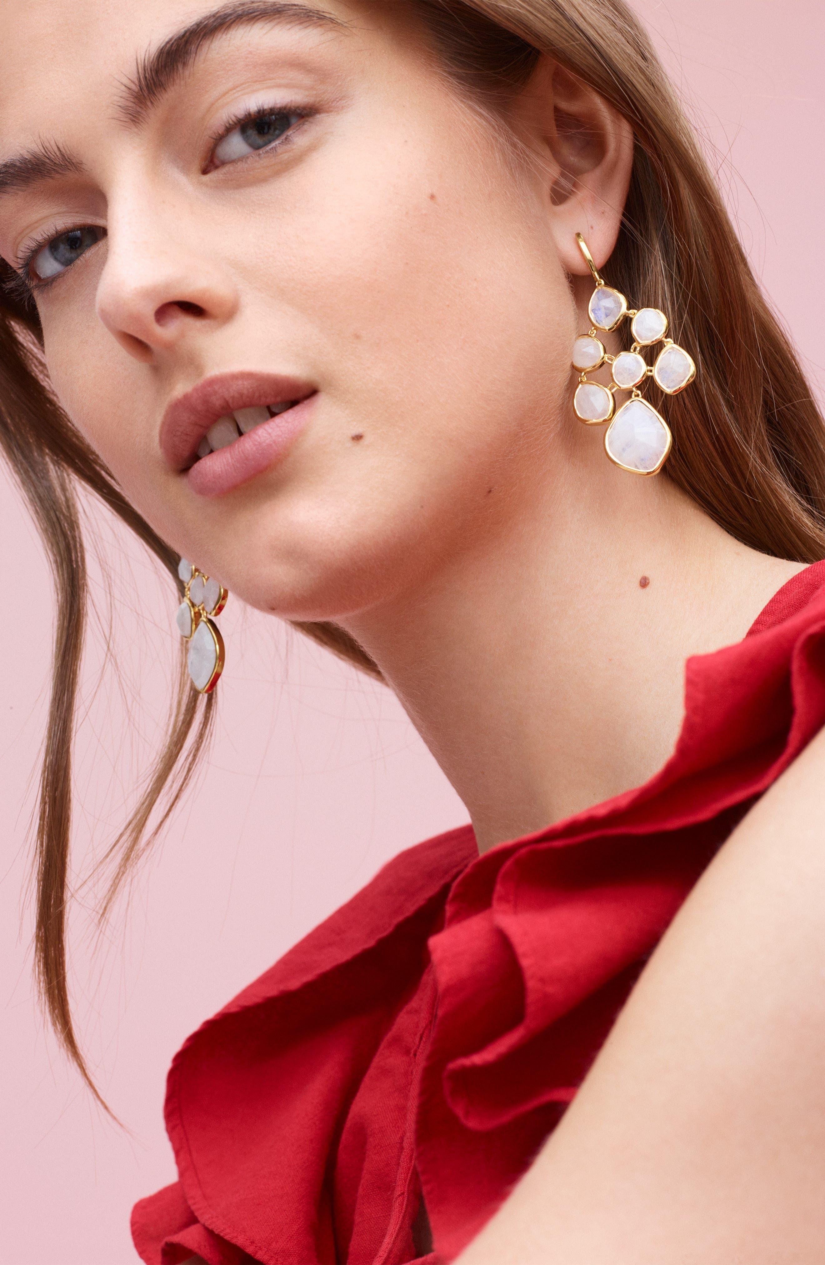 MONICA VINADER, Siren Chandelier Earrings, Alternate thumbnail 2, color, YELLOW GOLD/ MOONSTONE