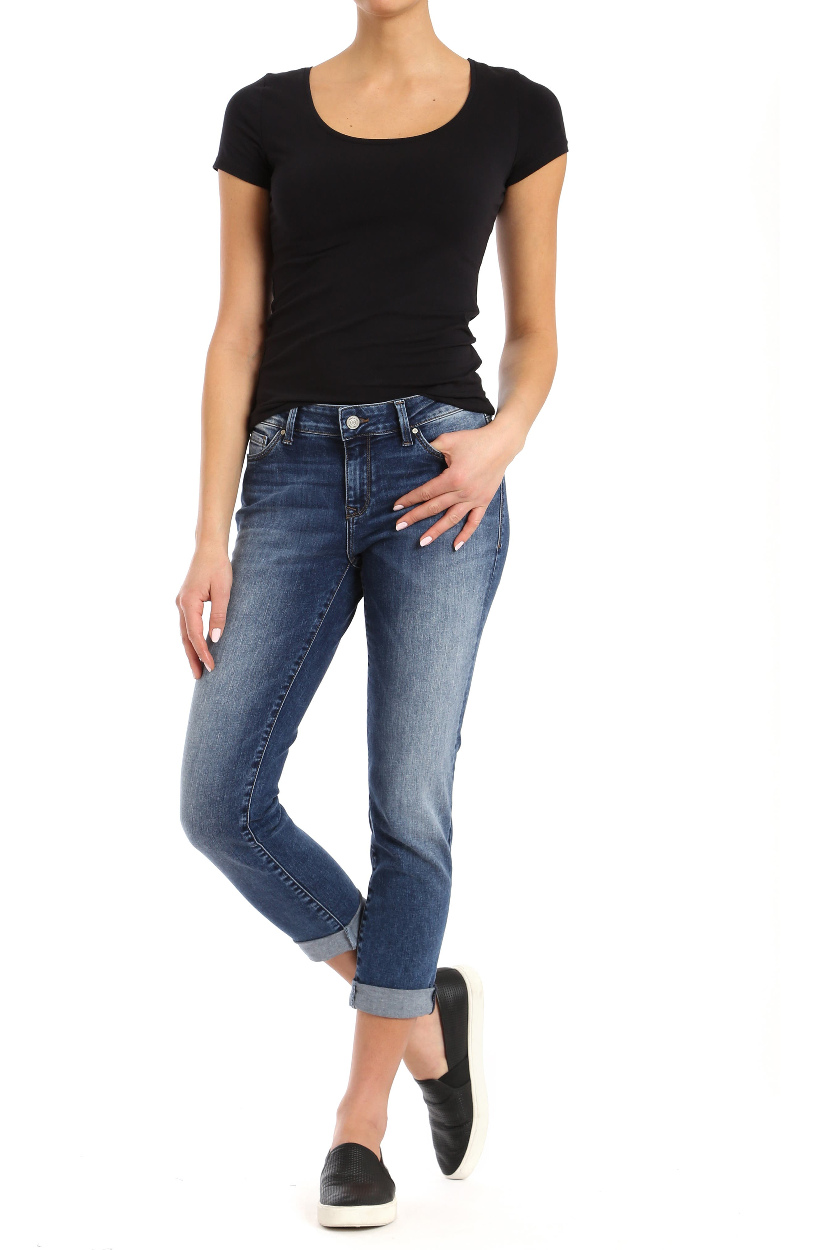 MAVI JEANS, Ada Slim Jeans, Alternate thumbnail 6, color, MID INDIGO TRIBECA