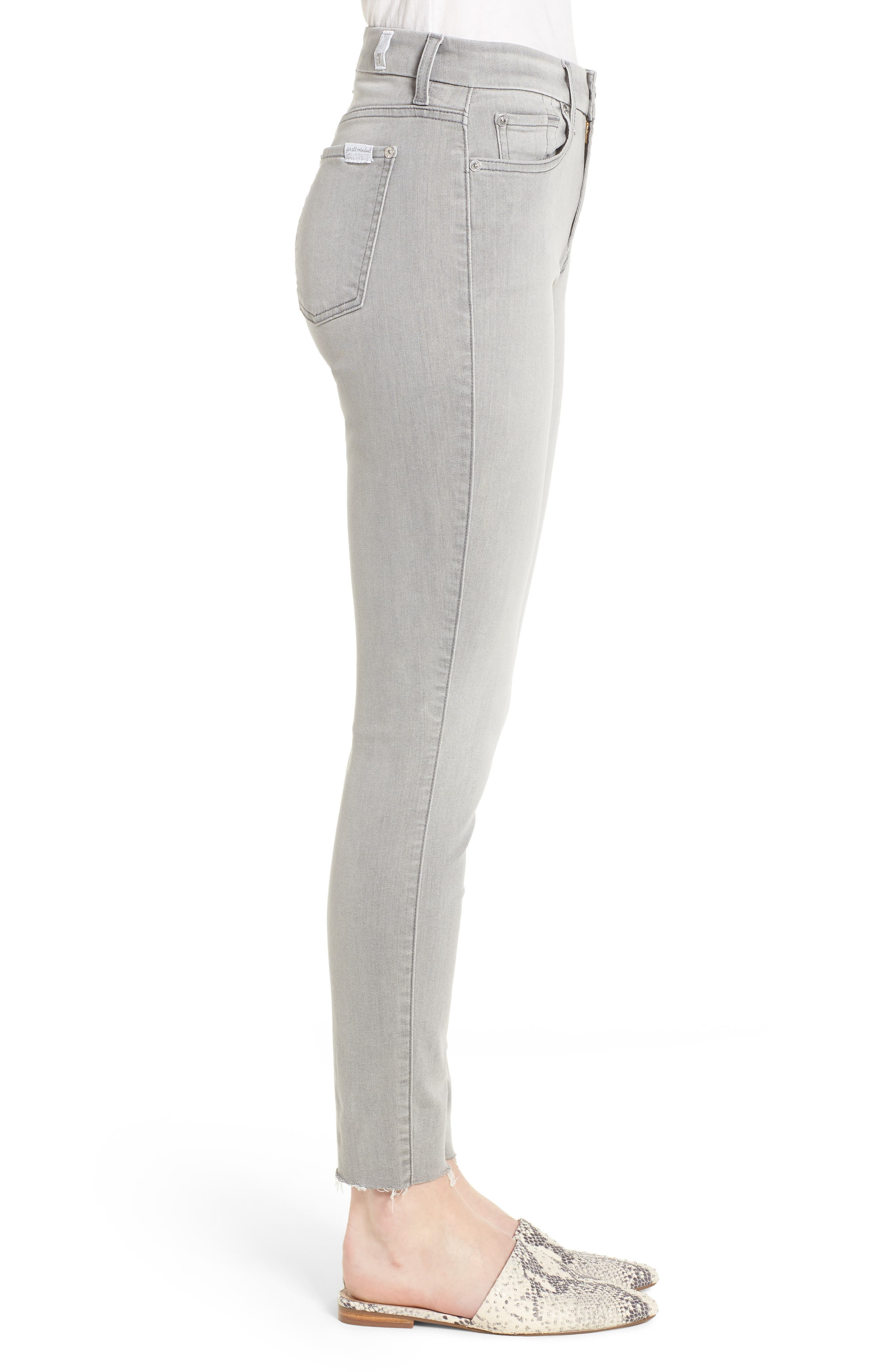 7 FOR ALL MANKIND<SUP>®</SUP>, b(air) High Waist Raw Hem Ankle Skinny Jeans, Alternate thumbnail 4, color, BAIR PURE SOFT GREY