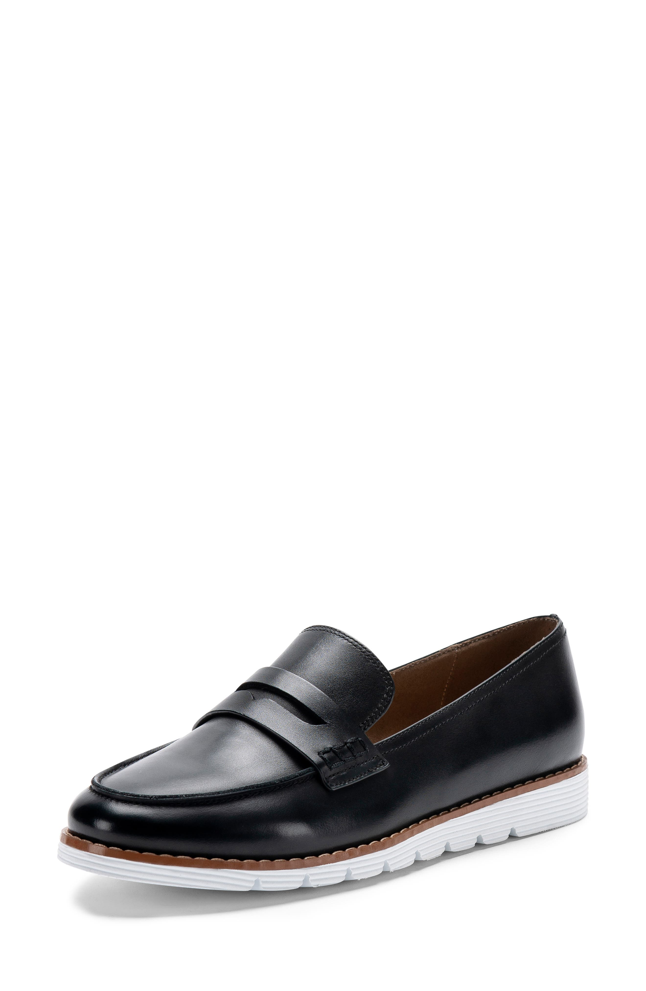 BLONDO, Waterproof Penny Loafer, Alternate thumbnail 7, color, BLACK LEATHER