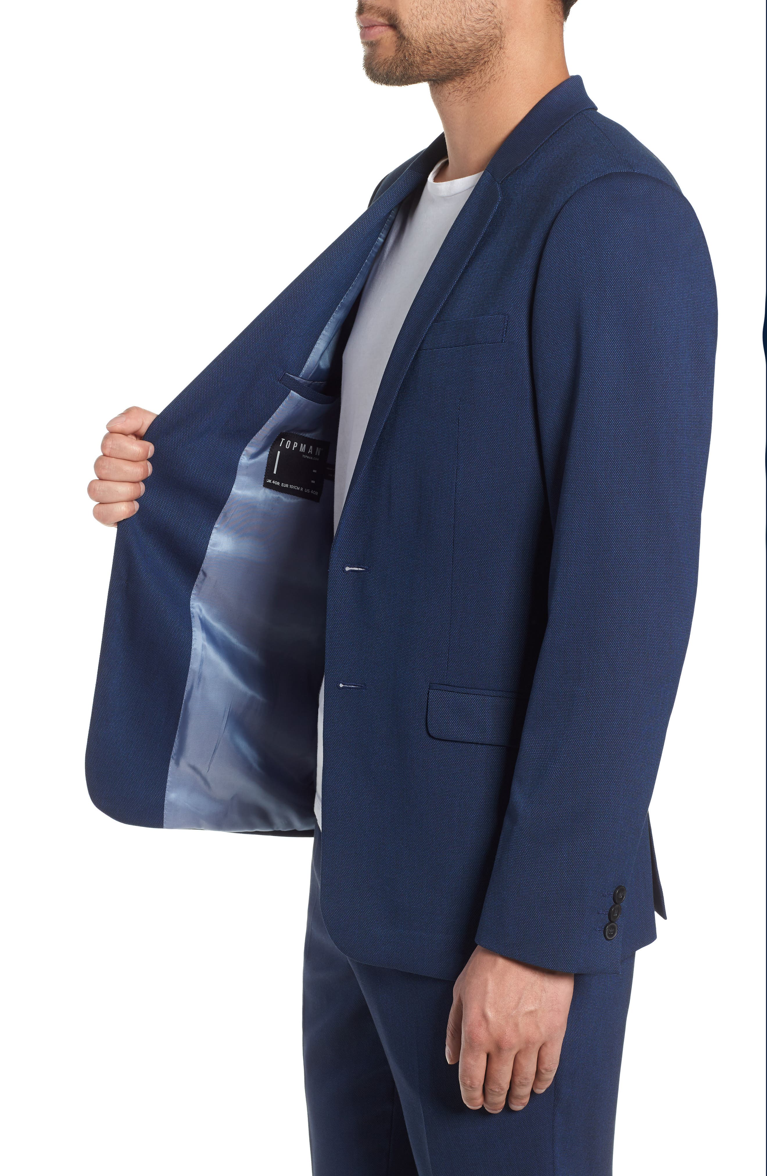 TOPMAN, Skinny Fit Suit Jacket, Alternate thumbnail 4, color, BLUE